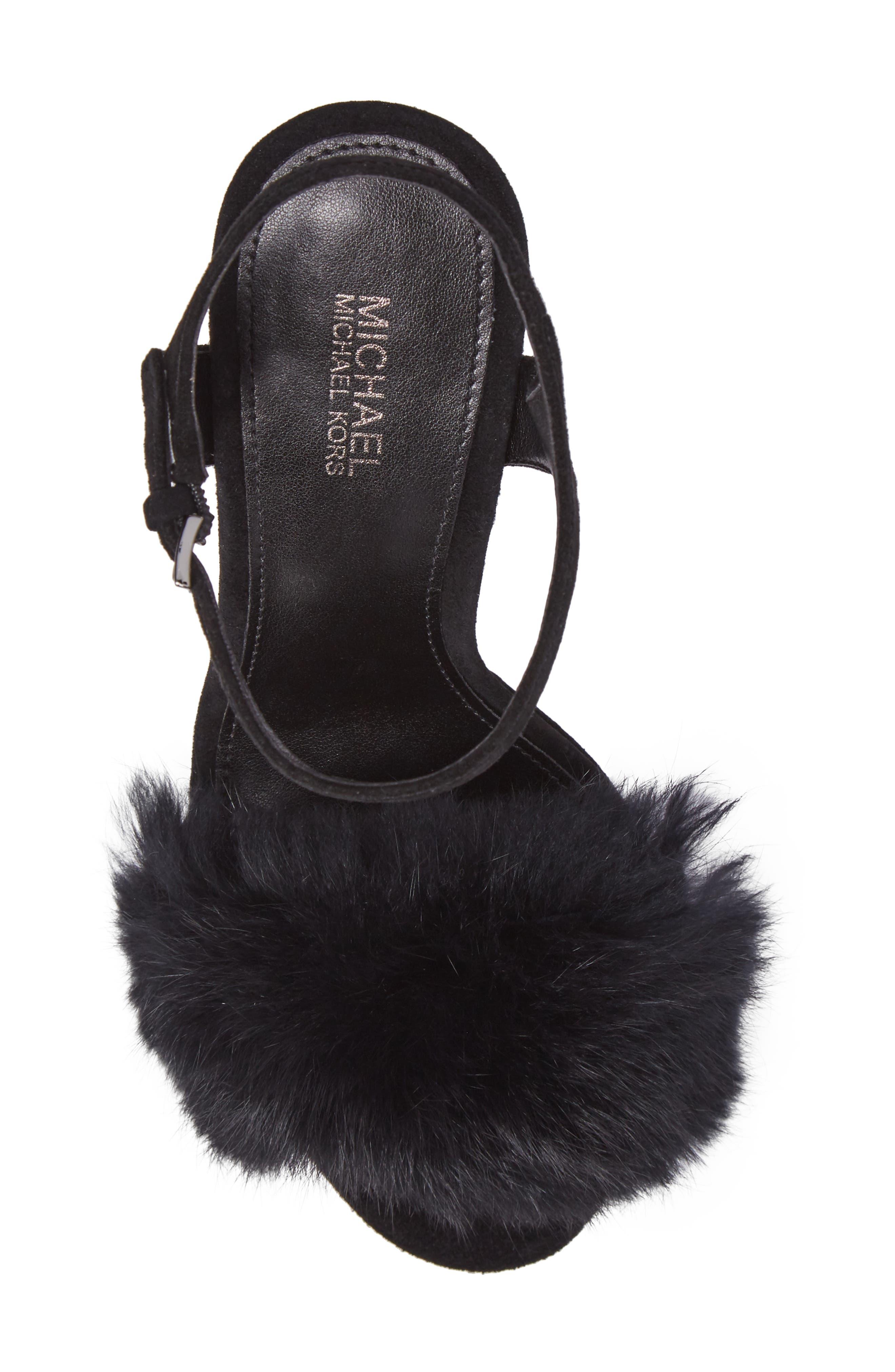 Faye Genuine Rabbit Fur Sandal,                             Alternate thumbnail 5, color,                             001