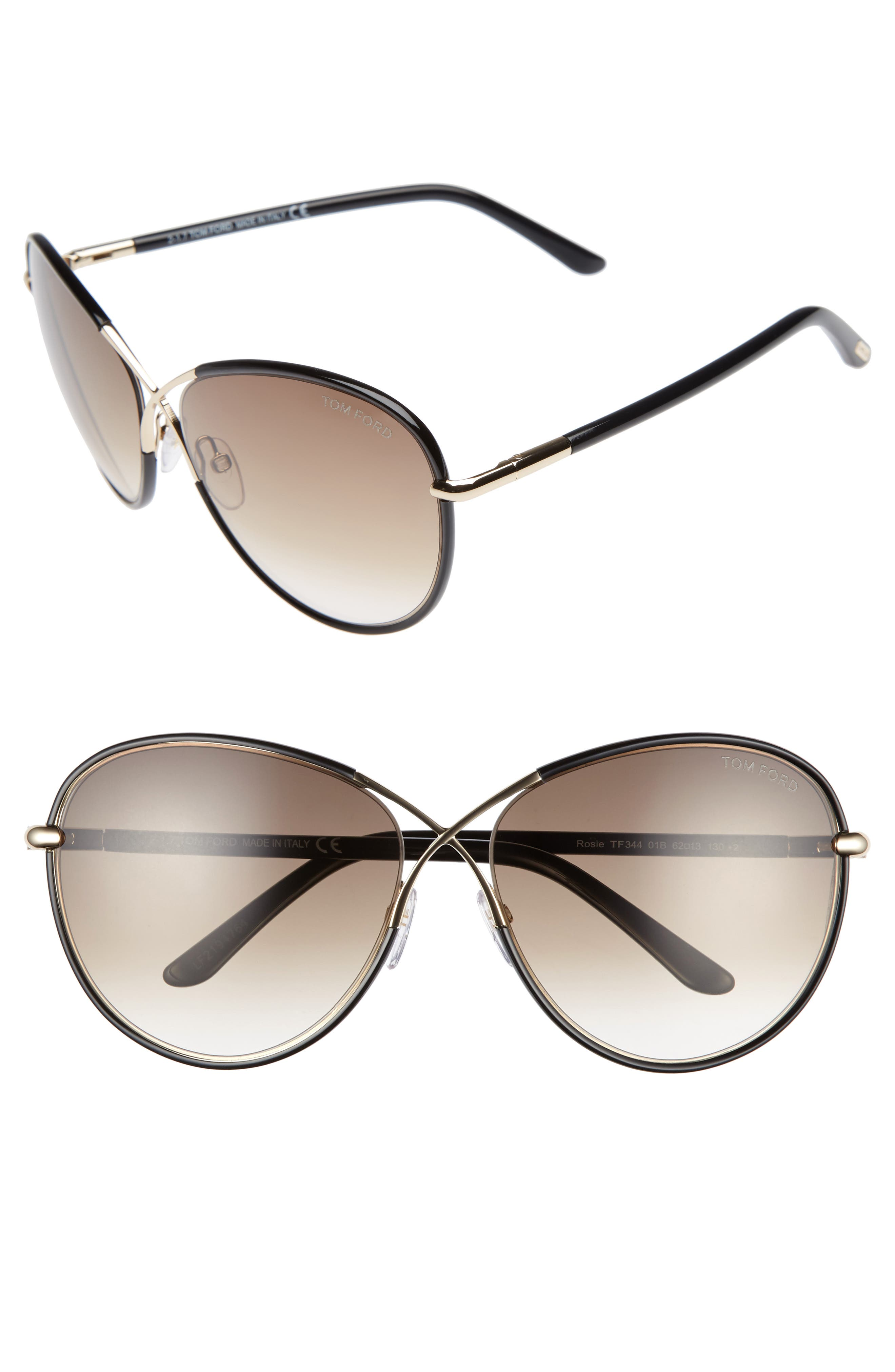 Rosie 62mm Gradient Butterfly Sunglasses, Main, color, 001