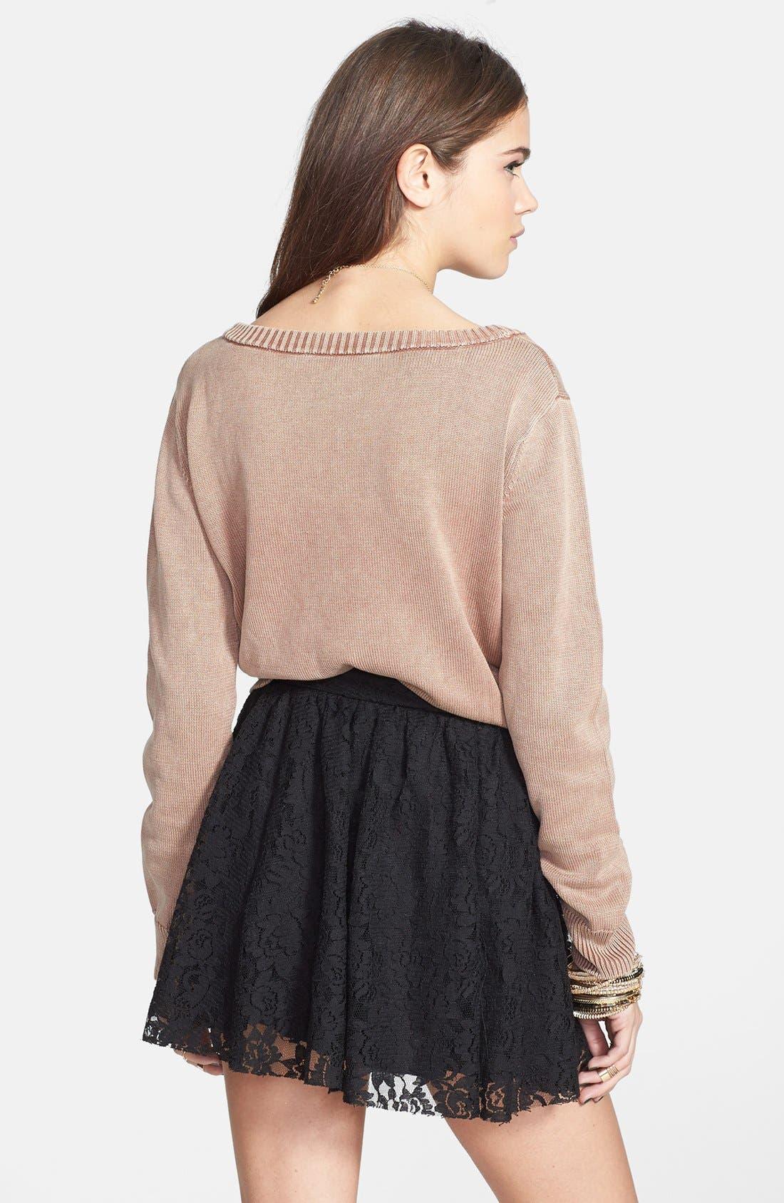 Lace Skater Skirt,                             Alternate thumbnail 2, color,                             001