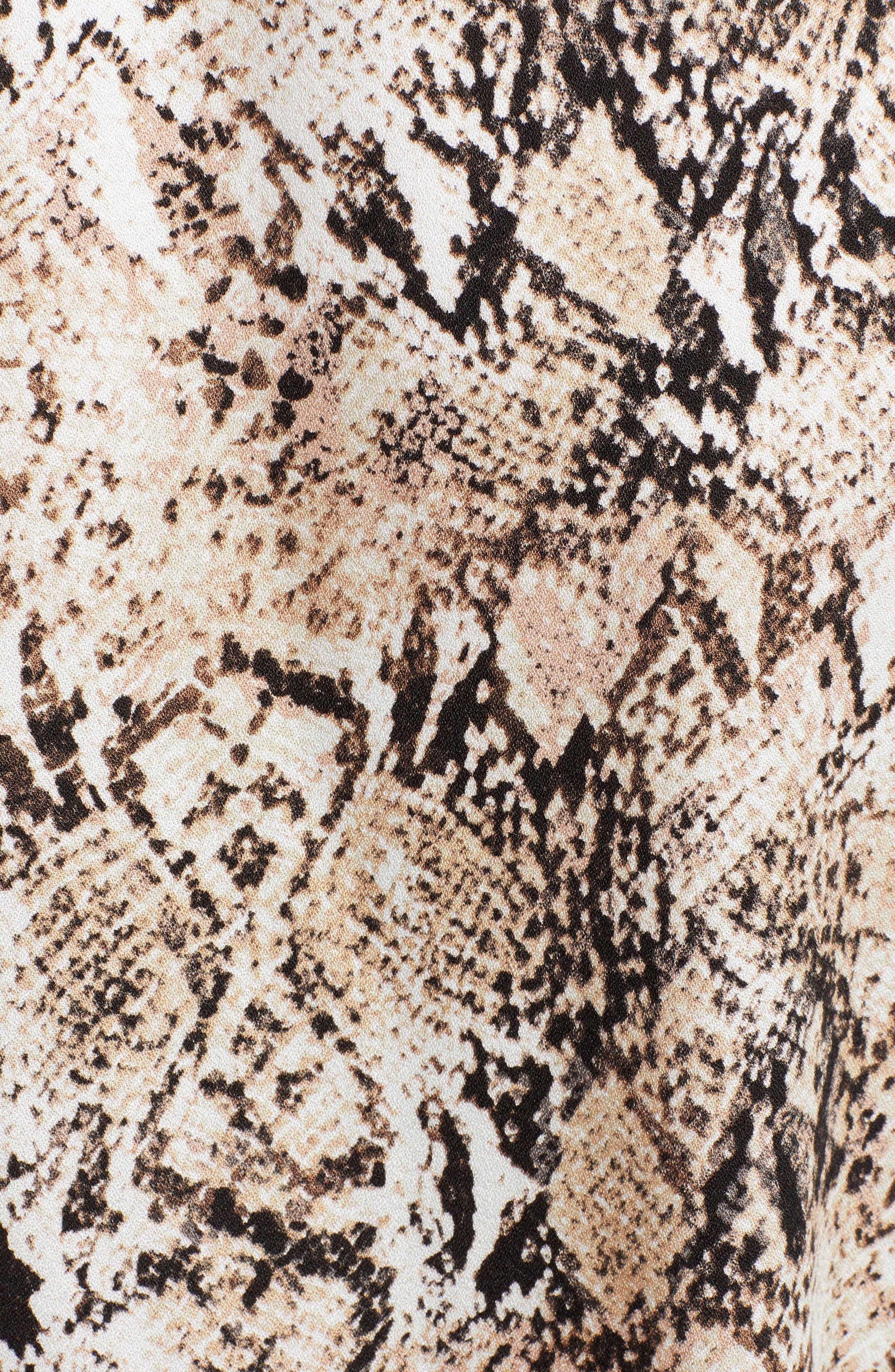 LEITH,                             Ruffle Sleeve Wrap Dress,                             Alternate thumbnail 5, color,                             IVORY SNAKE PRINT
