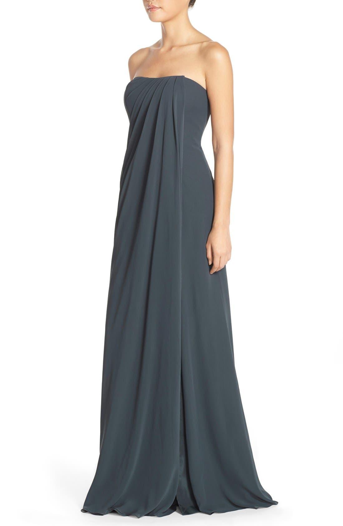 Raquel Front Slit Strapless Chiffon Gown,                             Alternate thumbnail 2, color,                             026
