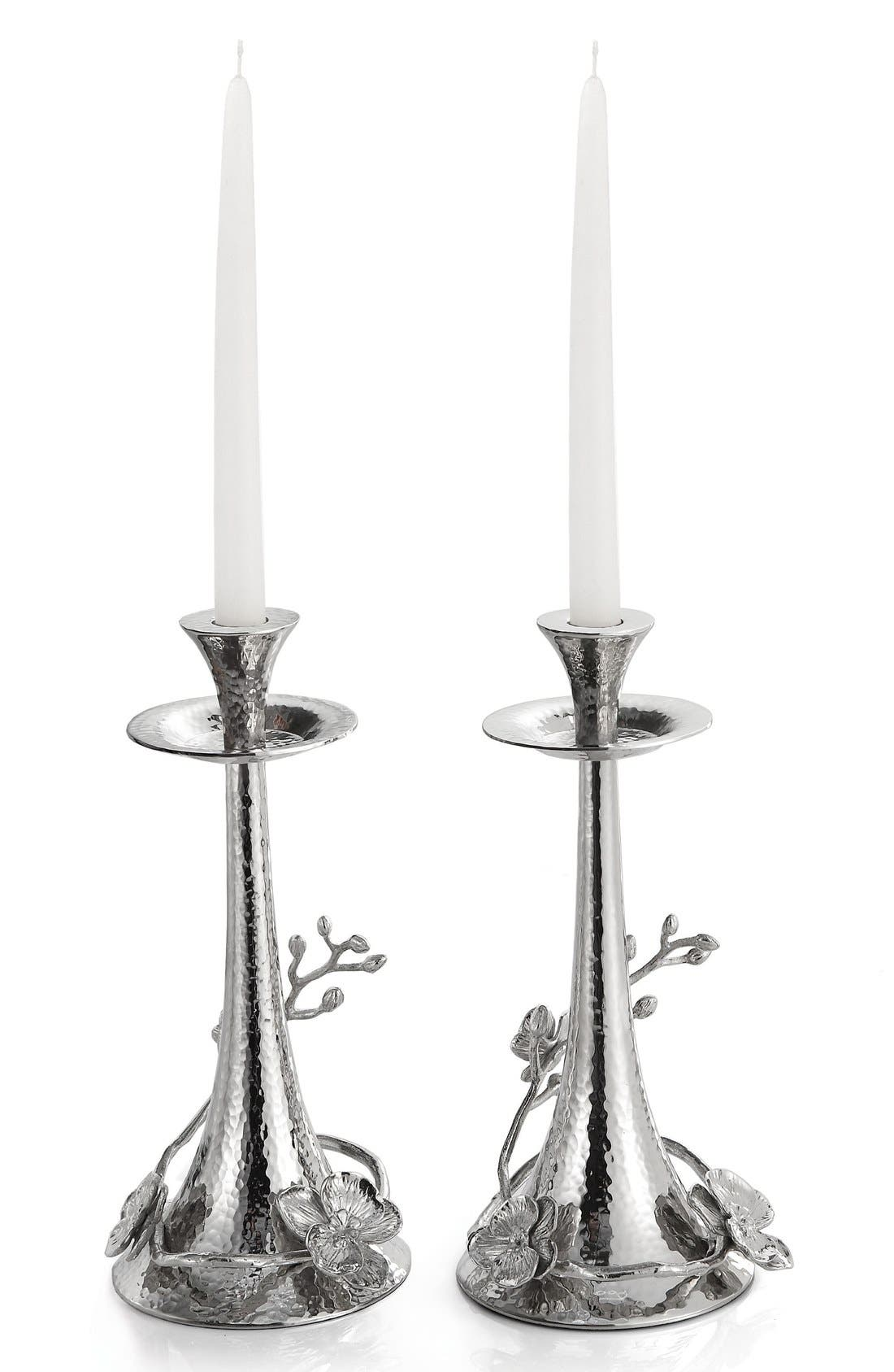 'White Orchid' Candle Holders,                             Main thumbnail 1, color,                             METALLIC SILVER
