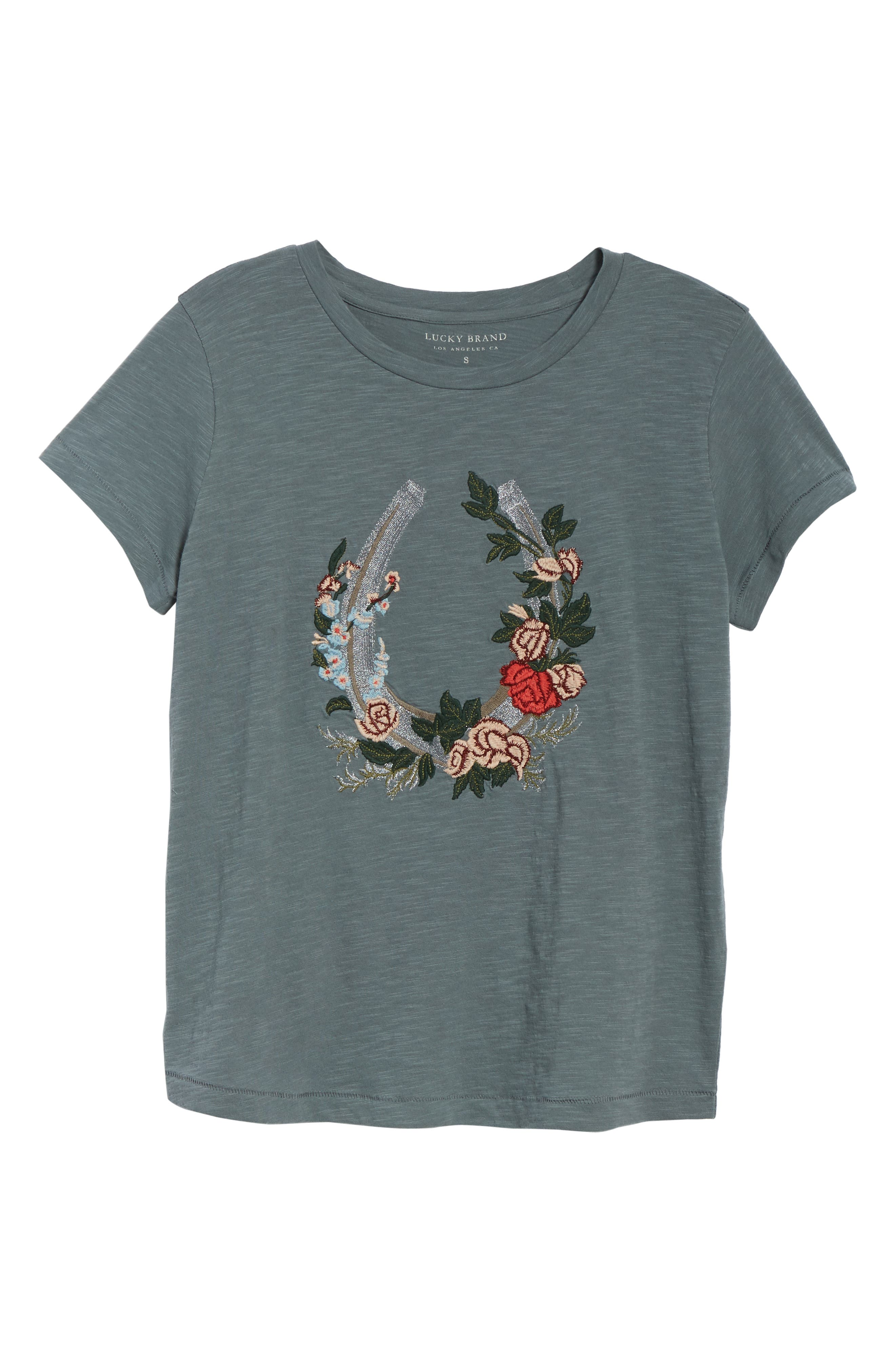 Floral Embroidery Tee,                             Alternate thumbnail 6, color,                             060