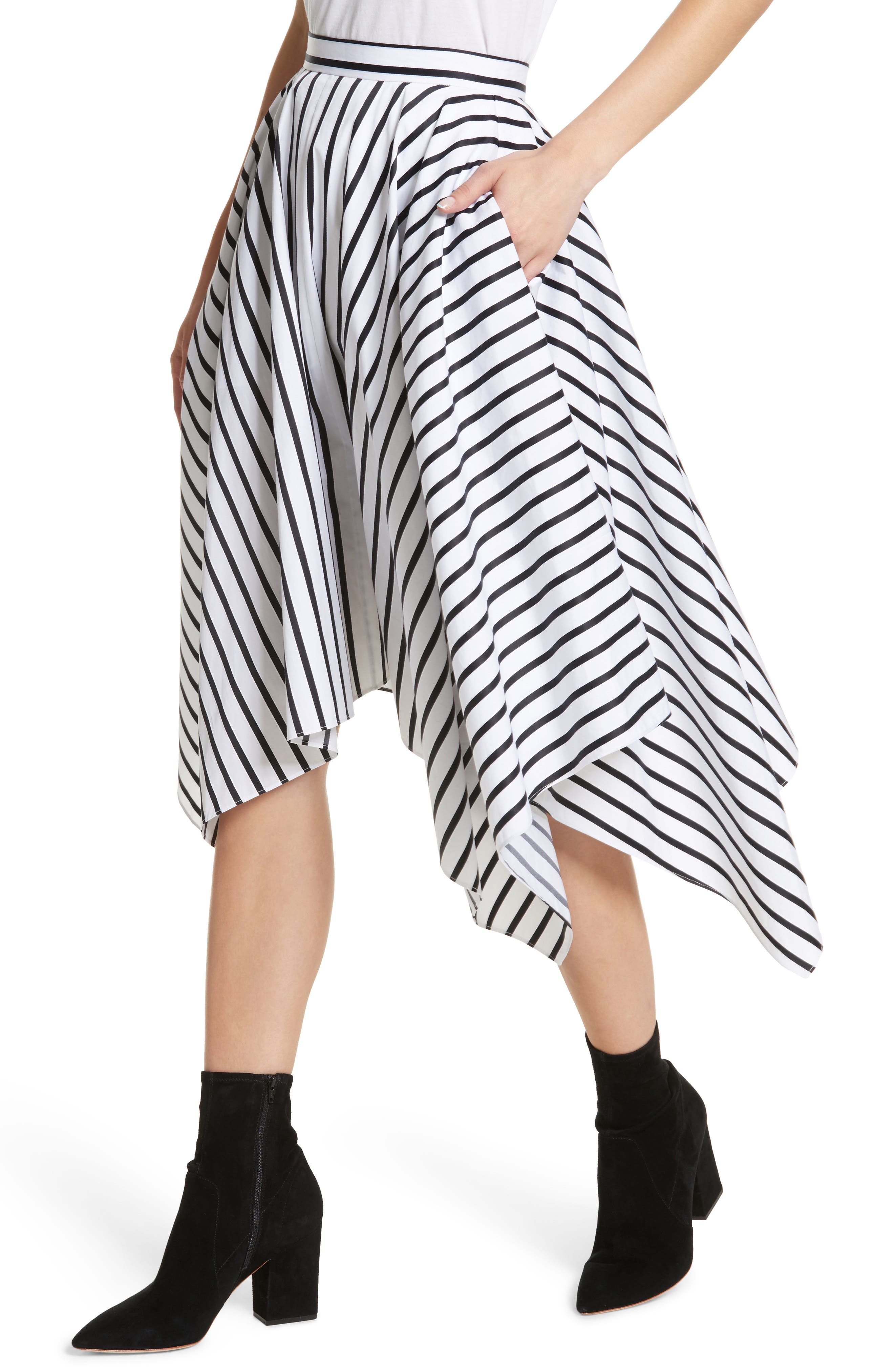 Stripe Cotton Asymmetrical Skirt,                             Alternate thumbnail 4, color,                             001