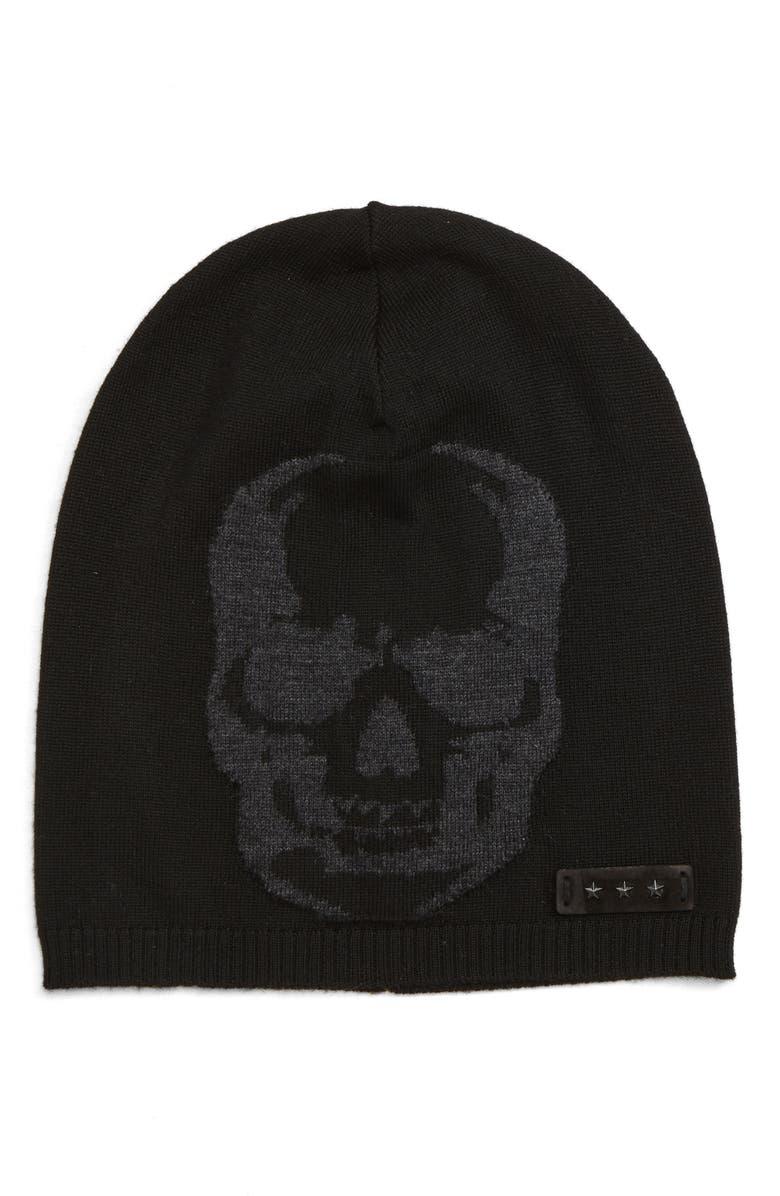 John Varvatos Intarsia Skull Slouch Knit Hat In Black  Charcoal ... 15c56d7329d4