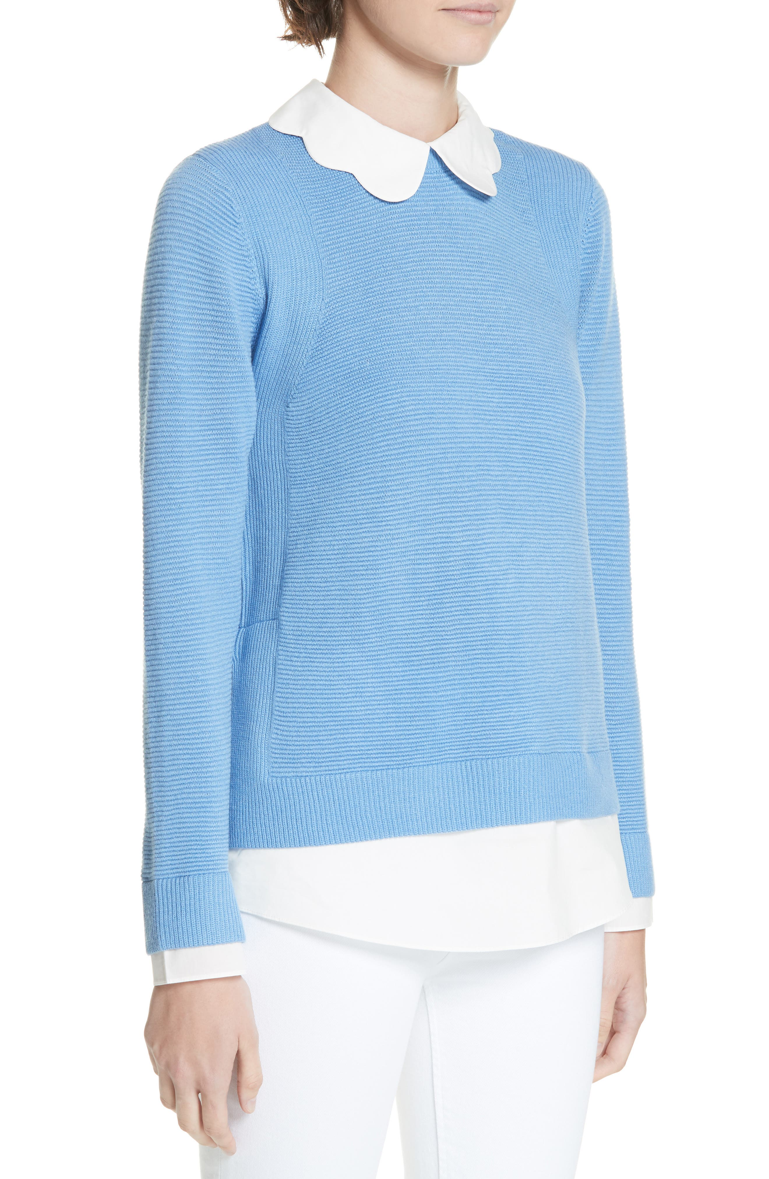 Bronwen Scalloped Collar Sweater,                             Alternate thumbnail 4, color,                             424