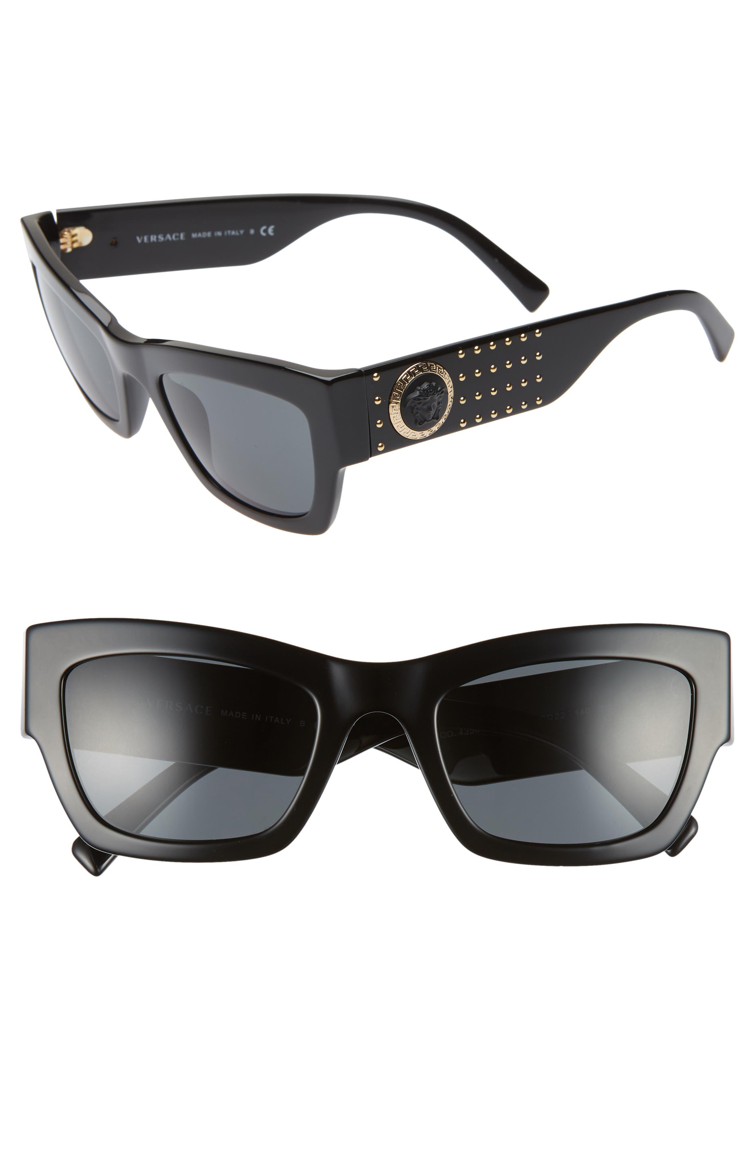 Medusa 52mm Square Sunglasses, Main, color, GREY SOLID