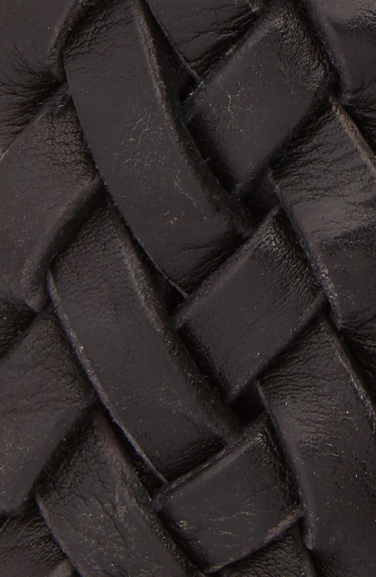 Woven Leather Belt,                             Alternate thumbnail 2, color,                             BLACK