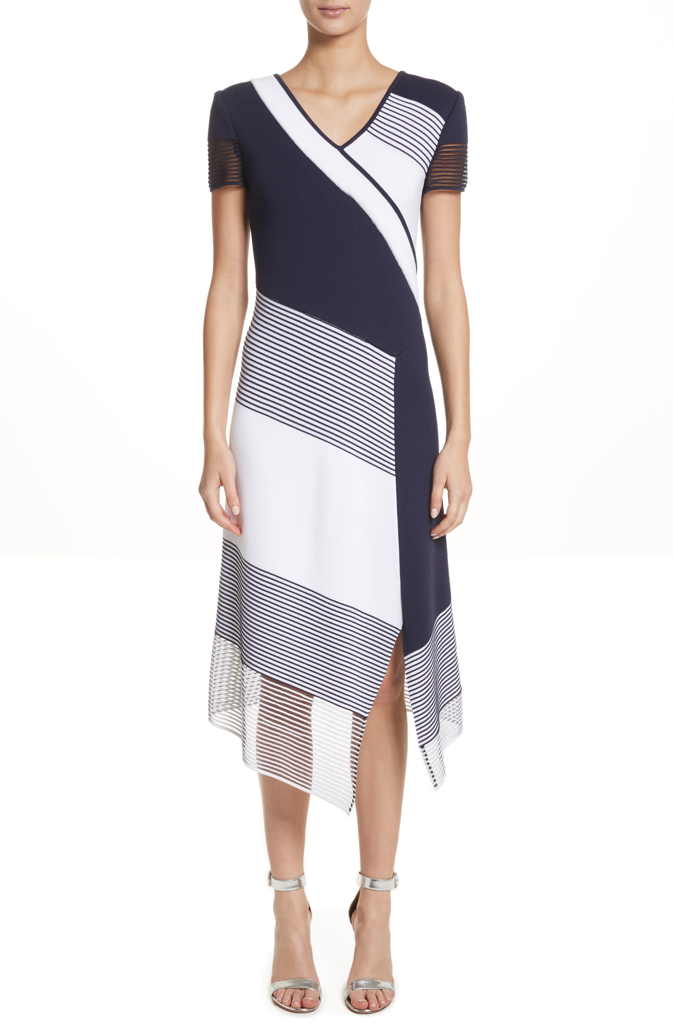 Colorblock Tech Knit Dress,                             Main thumbnail 1, color,                             100