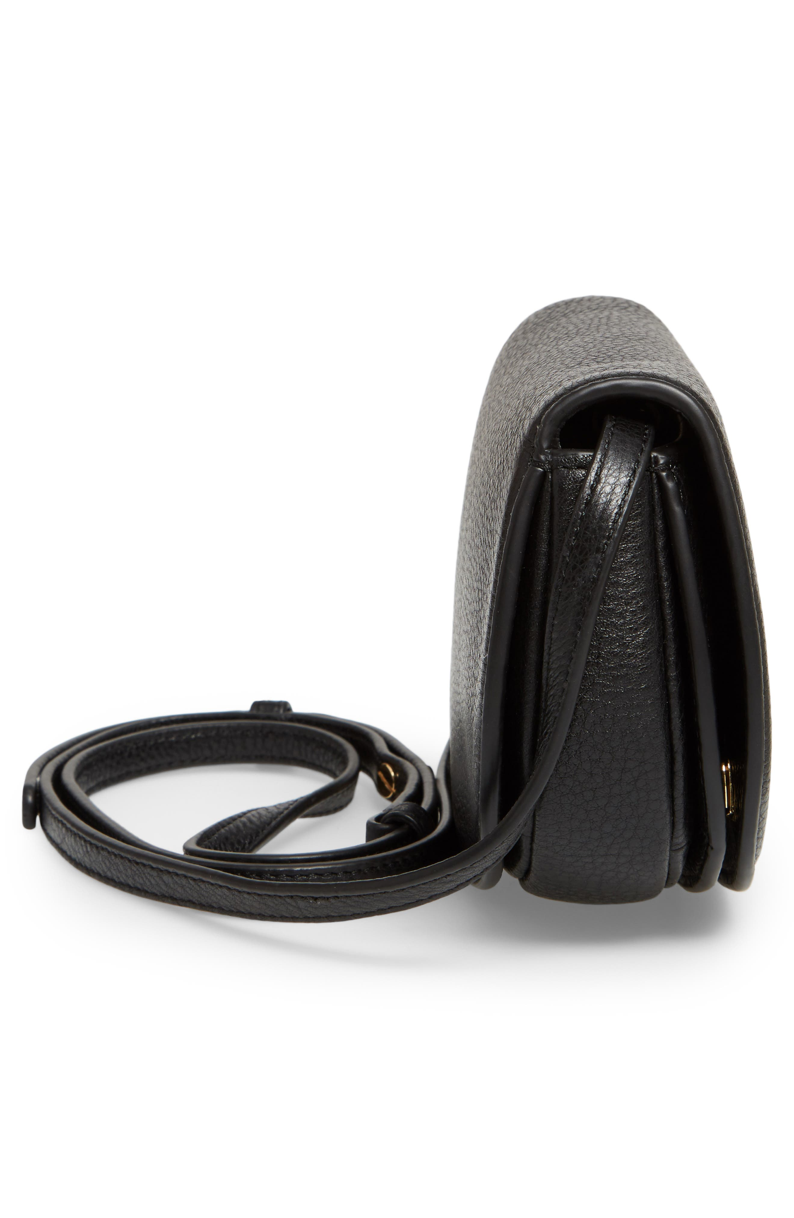 Mini Jamie Leather Crossbody Bag,                             Alternate thumbnail 5, color,                             001