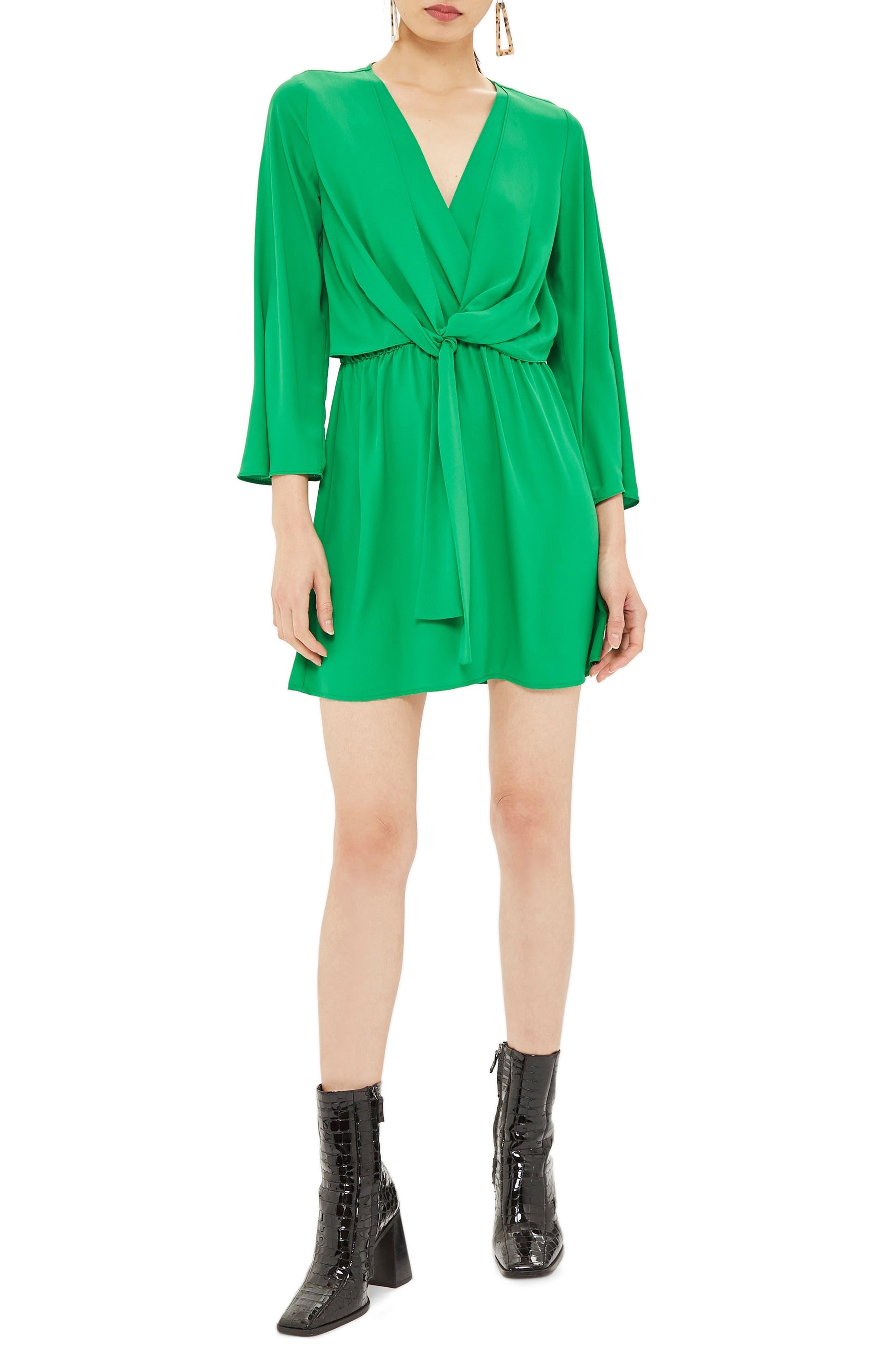 Topshop Tiffany Knot Minidress, US (fits like 0) - Green
