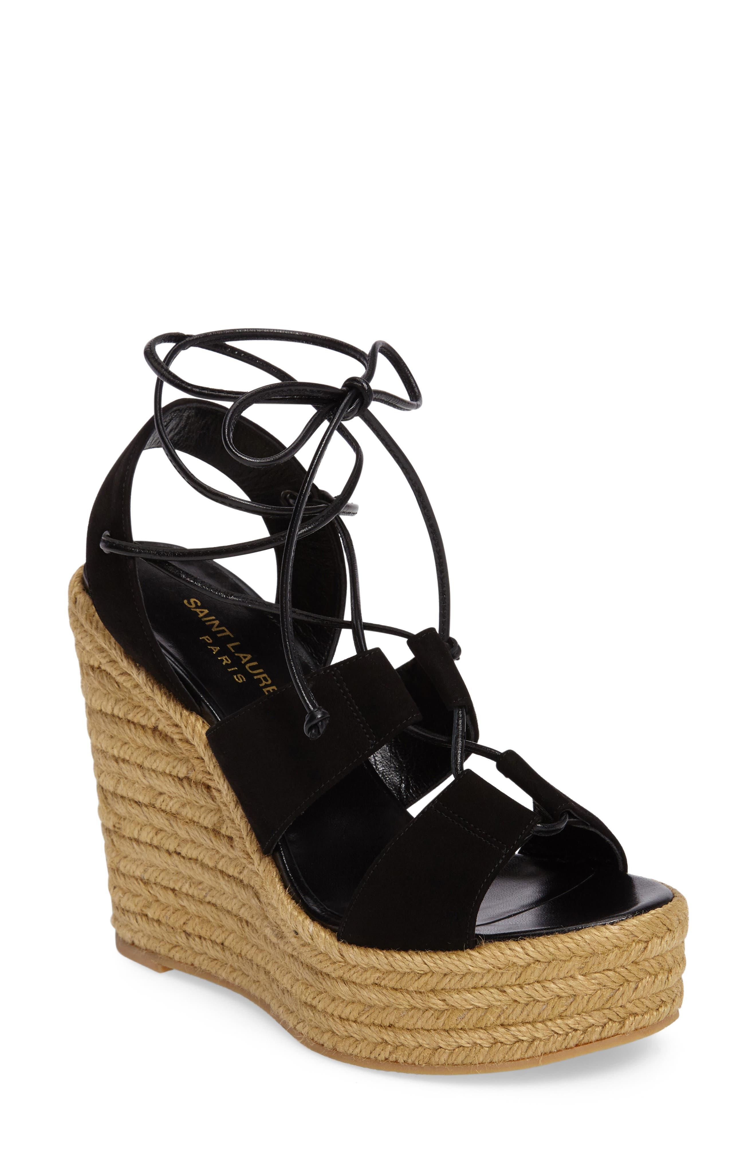 Woven Espadrille Wedge Sandal,                         Main,                         color, 001