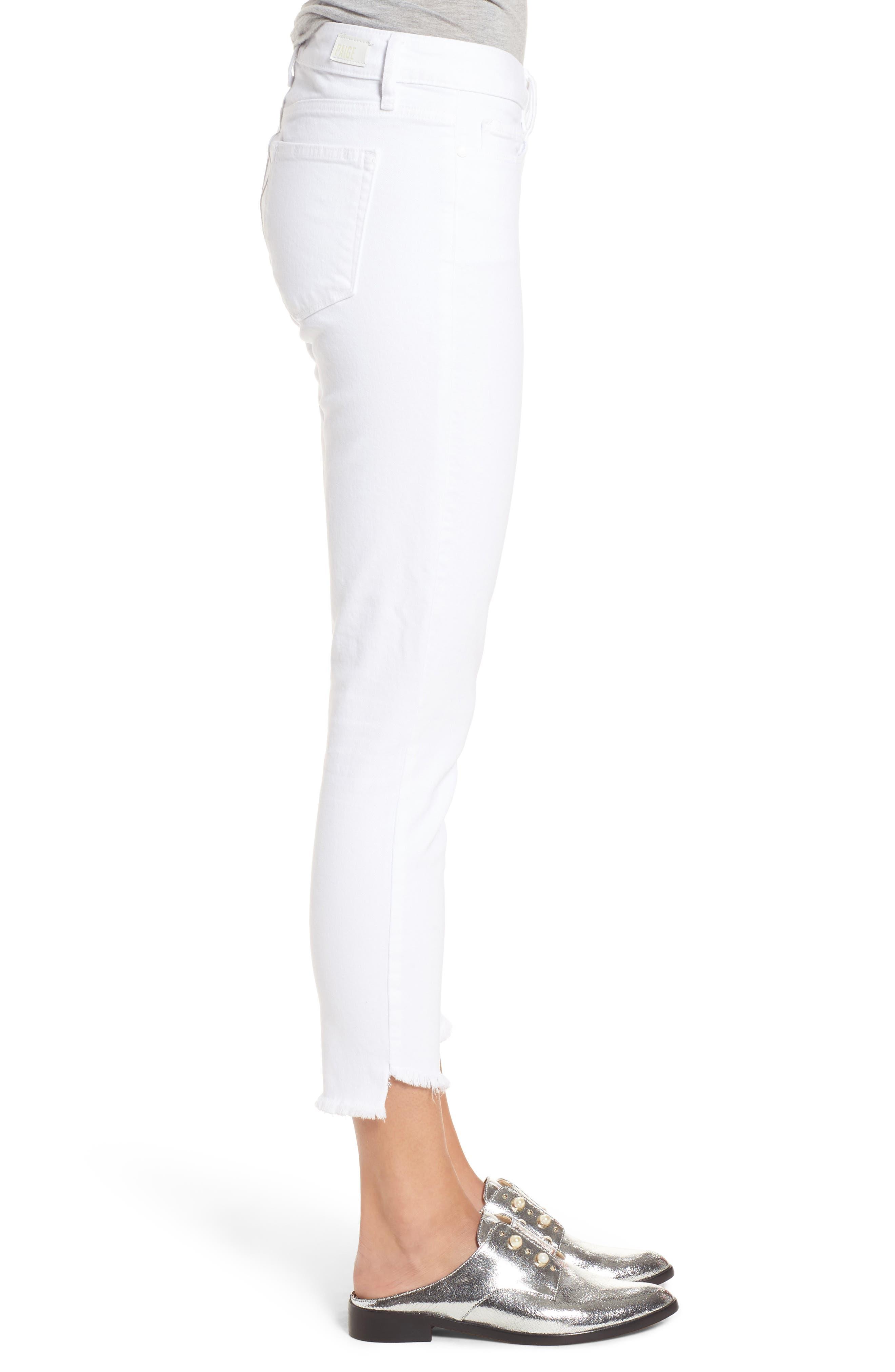 Verdugo Slanted Crop Skinny Jeans,                             Alternate thumbnail 3, color,                             CRISP WHITE