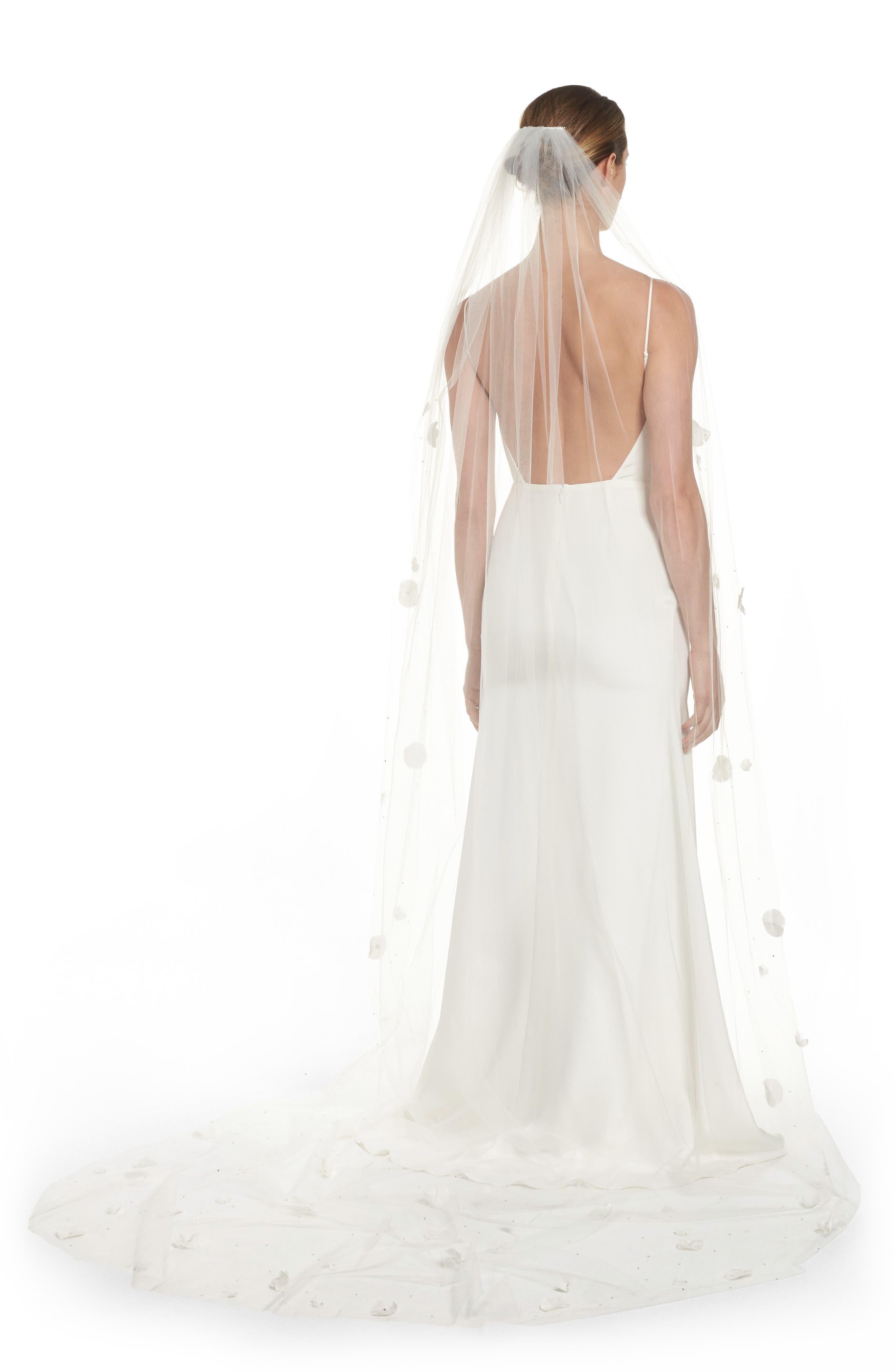 Fleet Embellished Bridal Veil,                             Main thumbnail 1, color,                             LIGHT IVORY