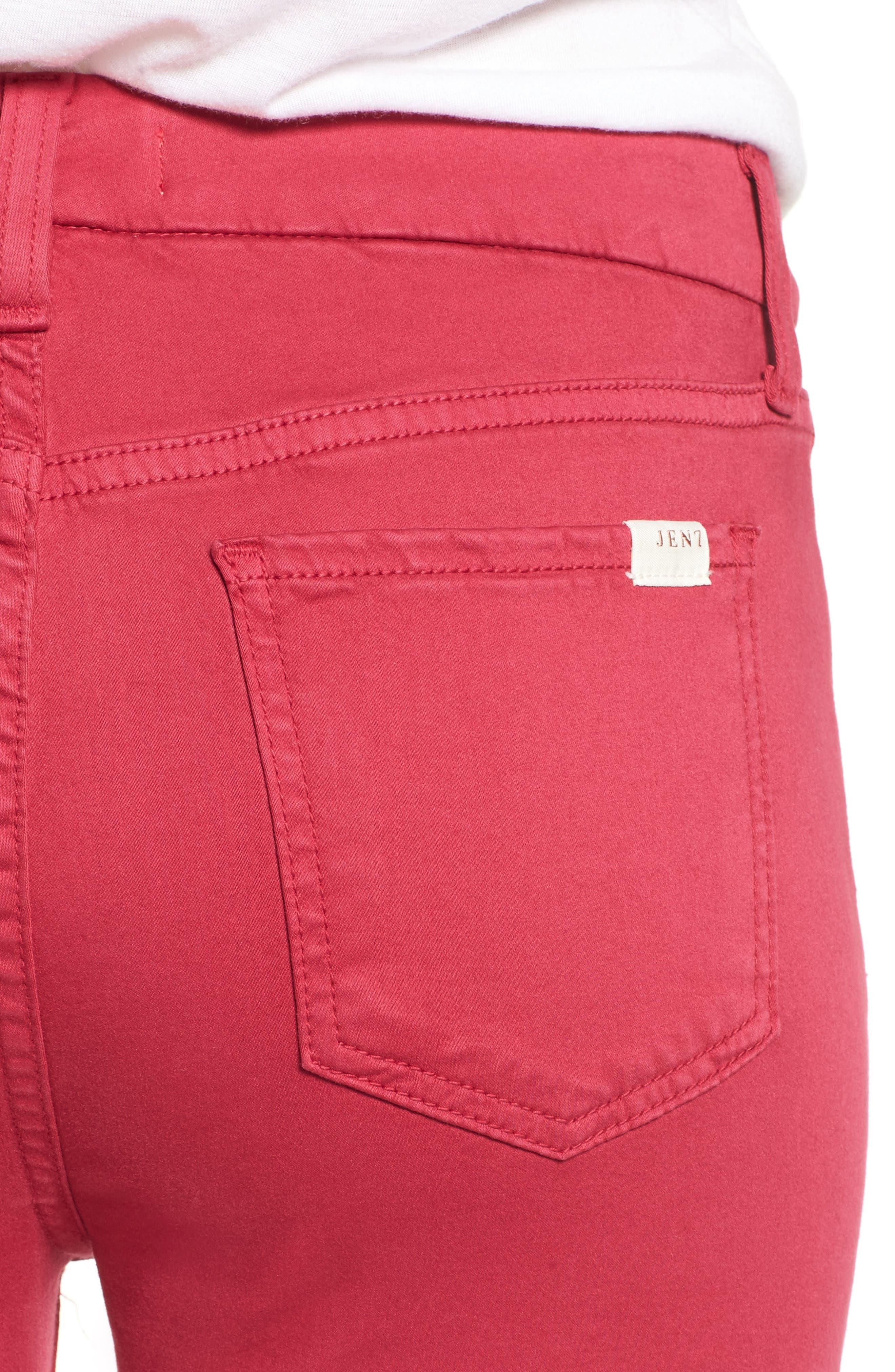 Crop Sateen Skinny Jeans,                             Alternate thumbnail 4, color,                             651