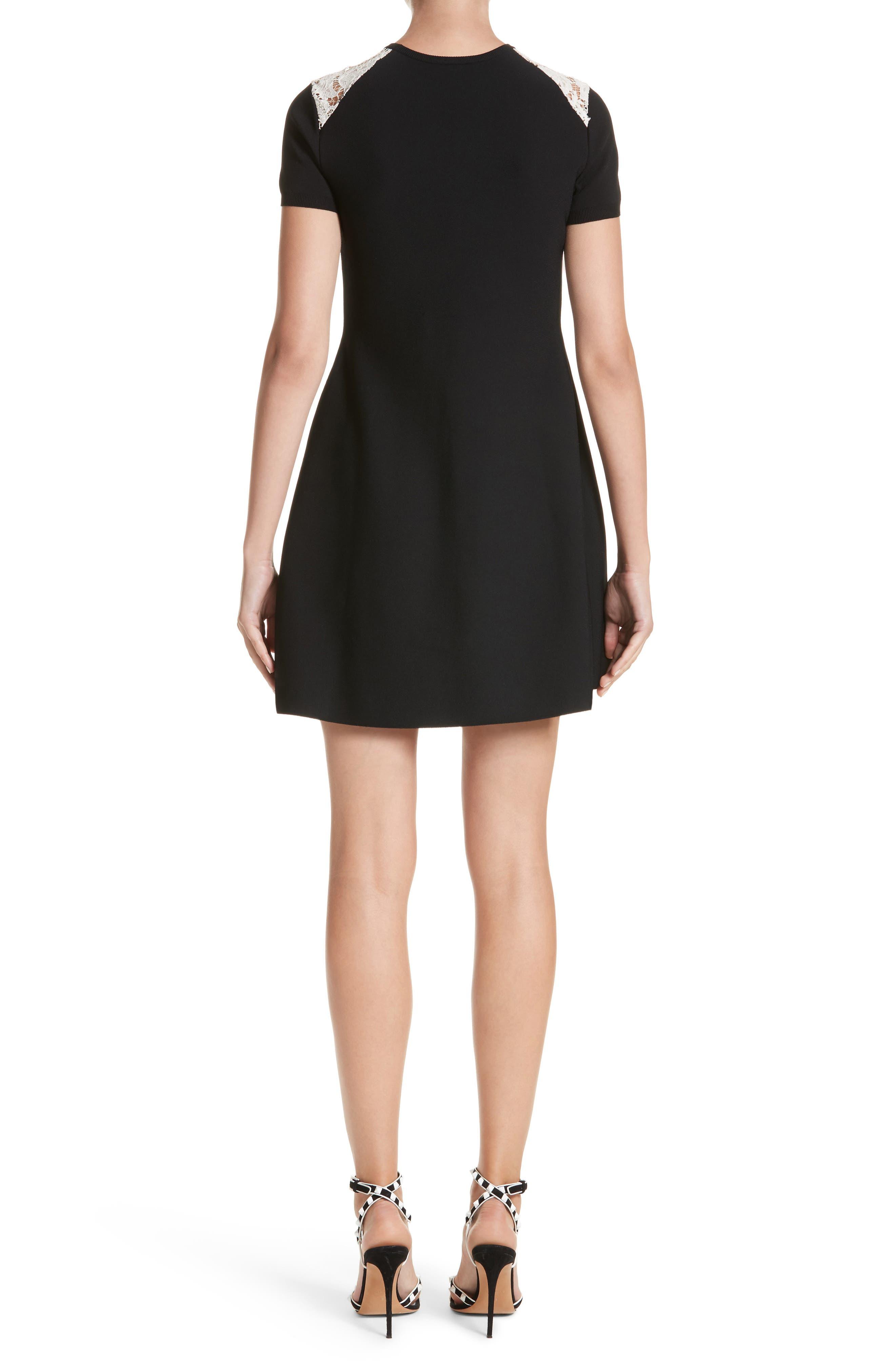 Chevron Lace Knit Dress,                             Alternate thumbnail 2, color,                             001
