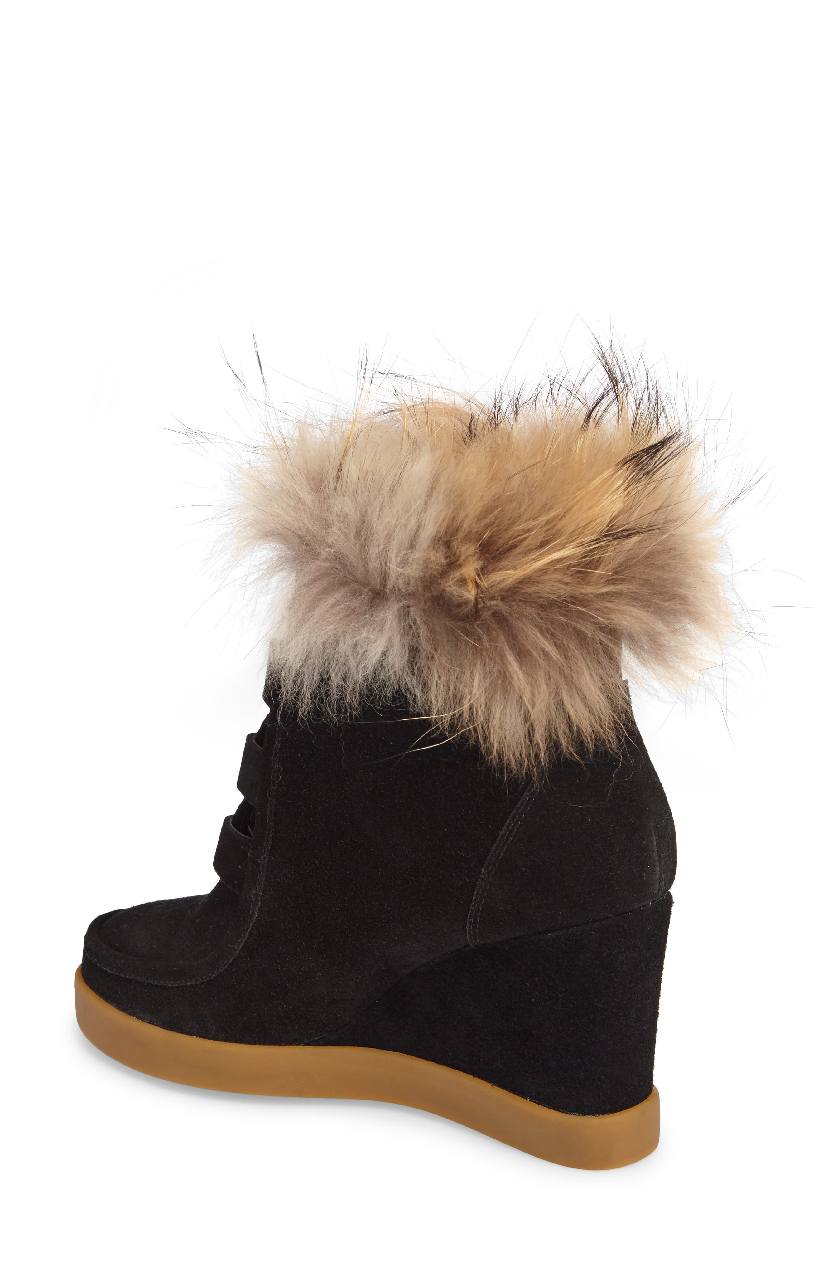 Holly Wedge Bootie with Genuine Fox Fur Trim,                             Alternate thumbnail 2, color,                             BLACK SUEDE