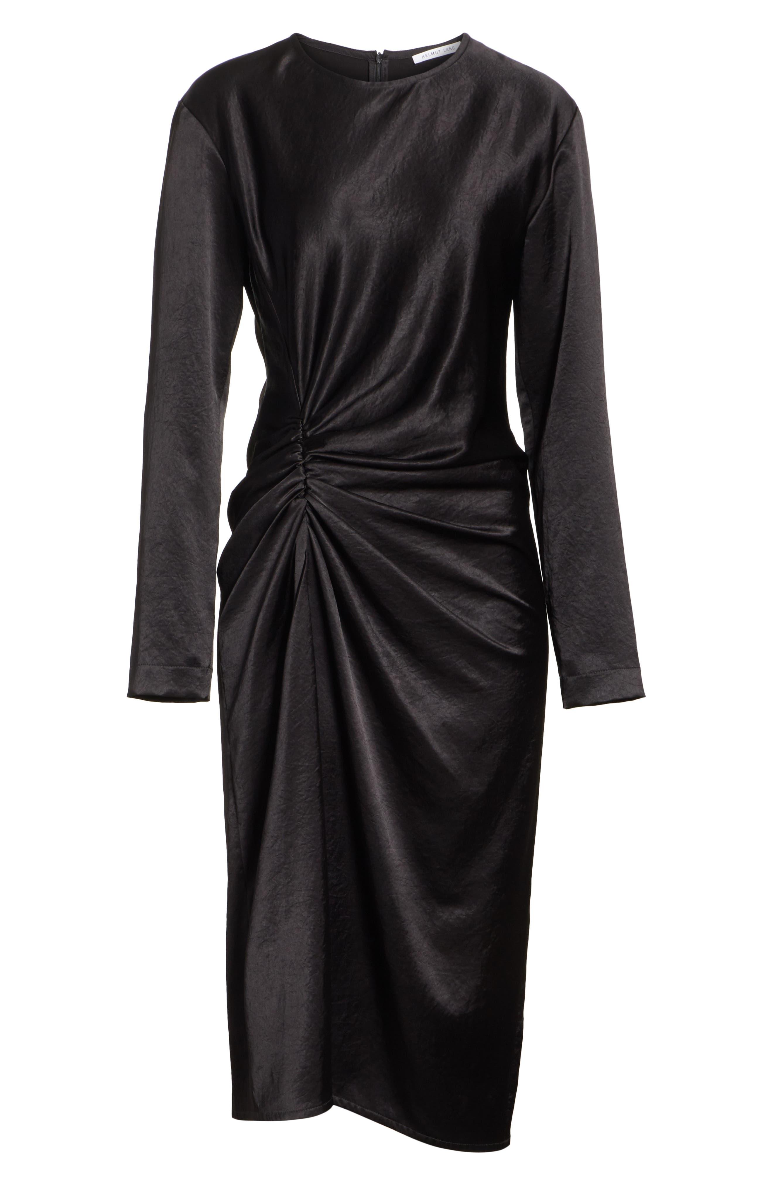 Ruched Crinkle Satin Dress,                             Alternate thumbnail 7, color,                             001