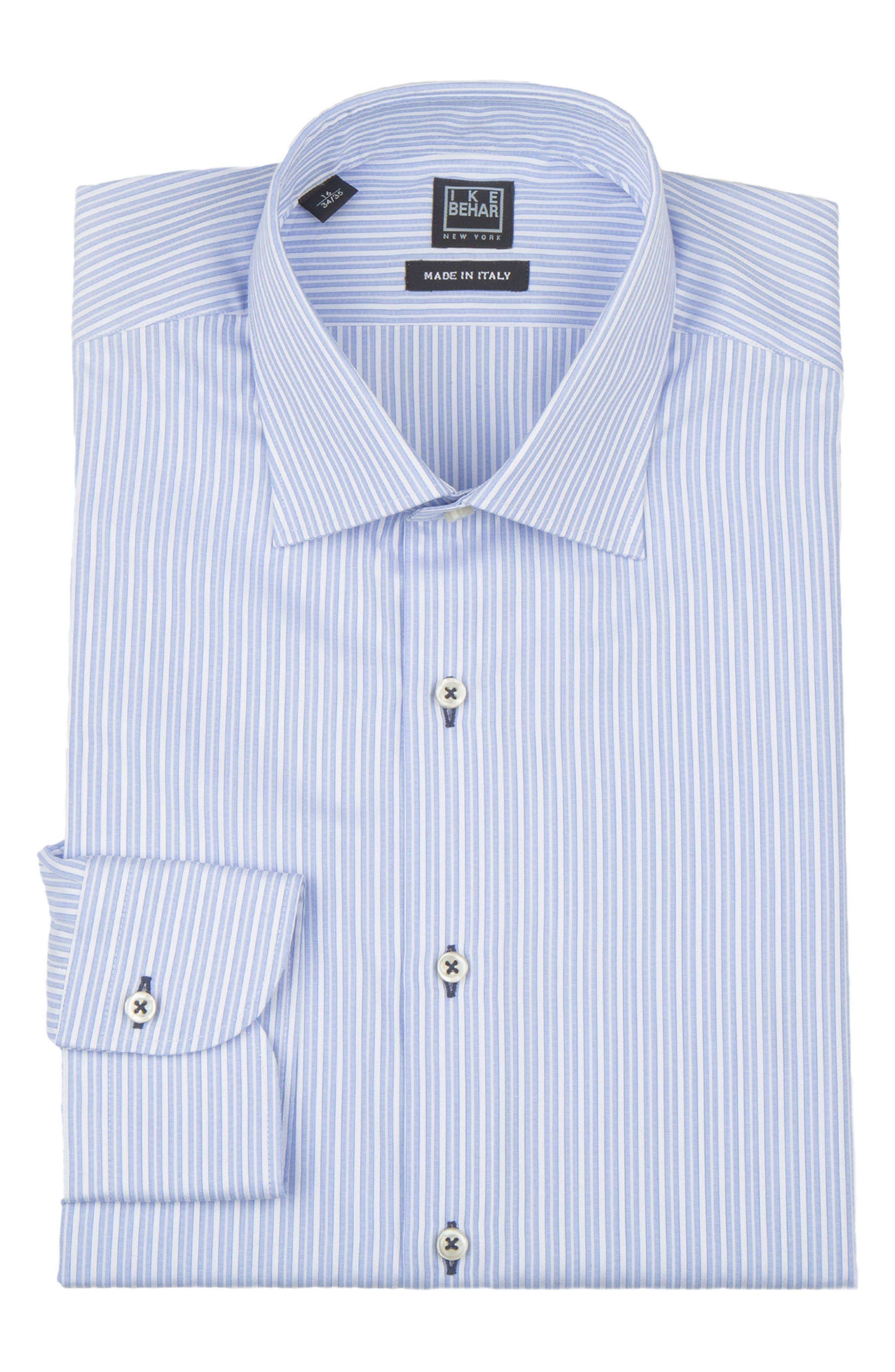 Regular Fit Stripe Dress Shirt,                             Alternate thumbnail 5, color,                             LIGHT BLUE