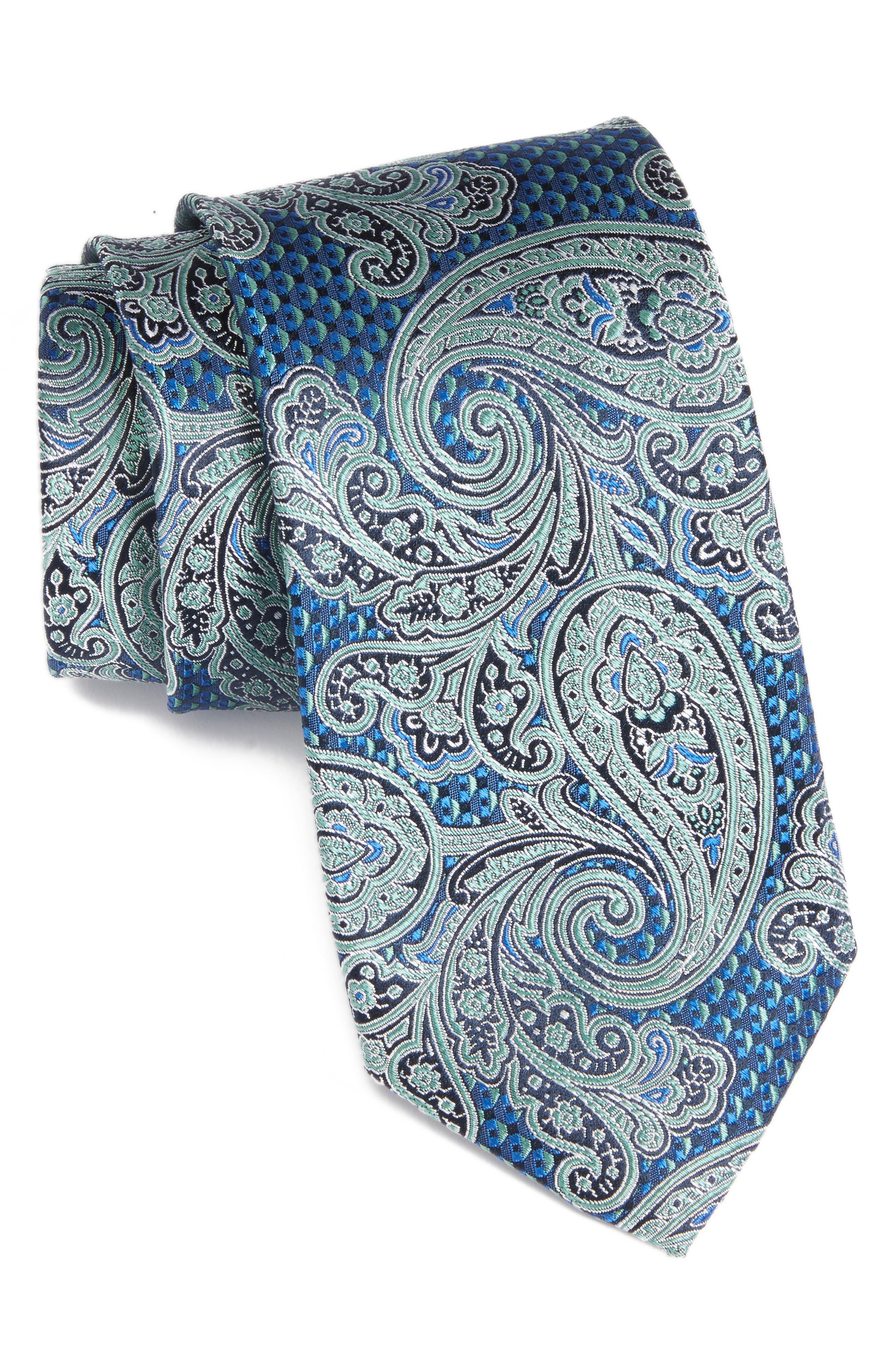 Sovana Paisley Silk Tie,                             Main thumbnail 1, color,                             335