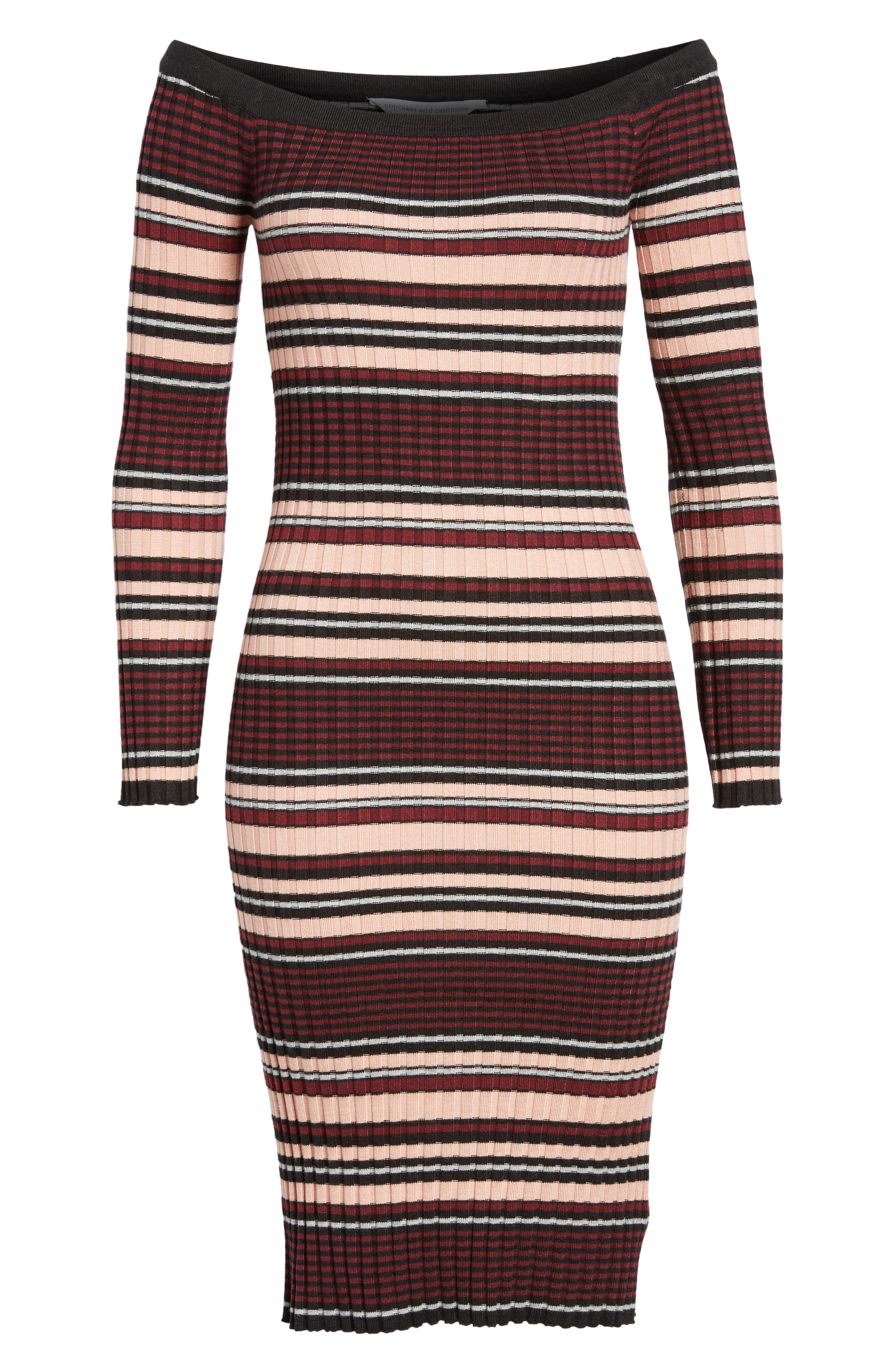 Tommy Off the Shoulder Body-Con Dress,                             Alternate thumbnail 6, color,                             001