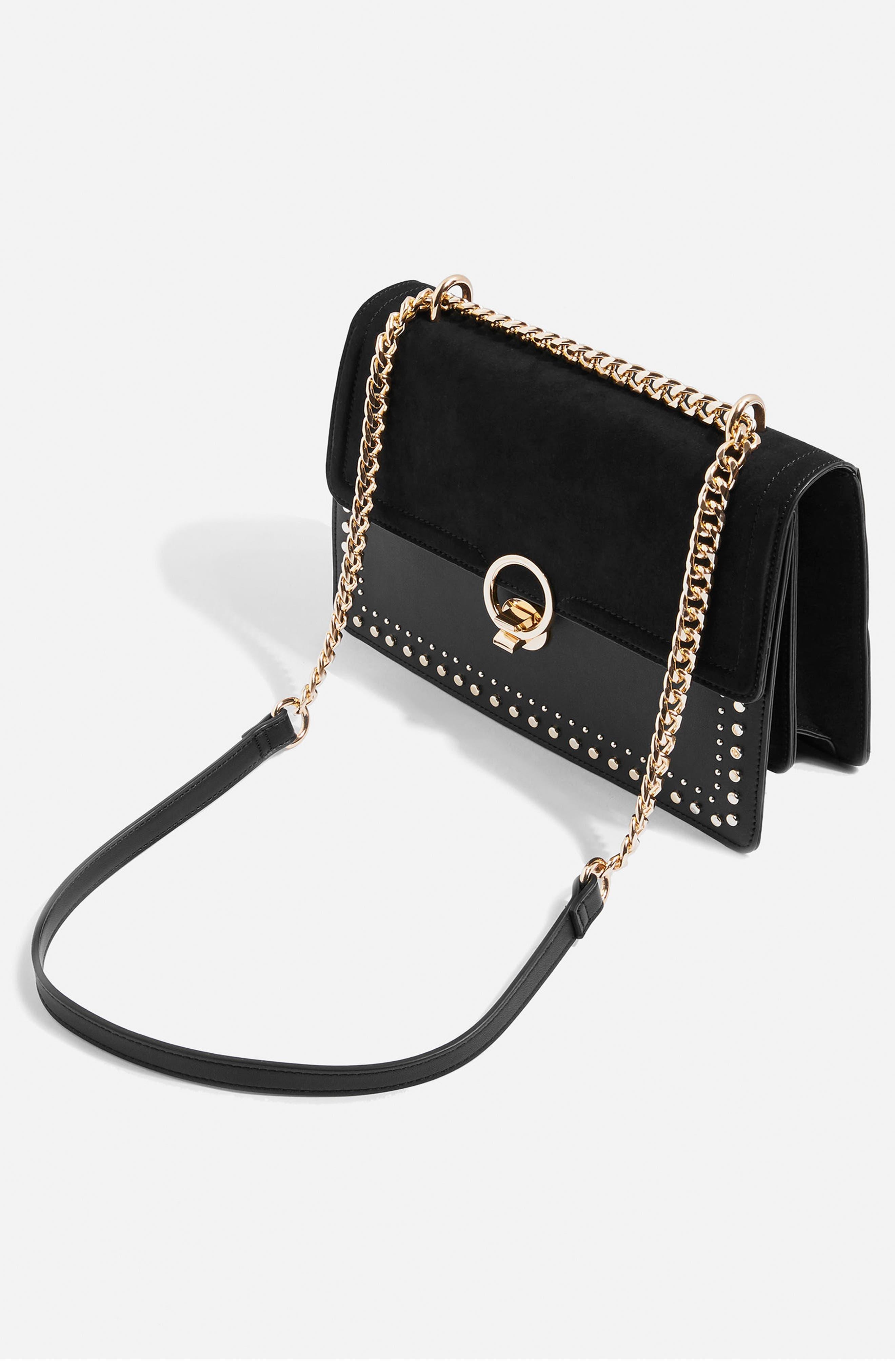 Penelope Studded Shoulder Bag,                             Alternate thumbnail 3, color,                             001