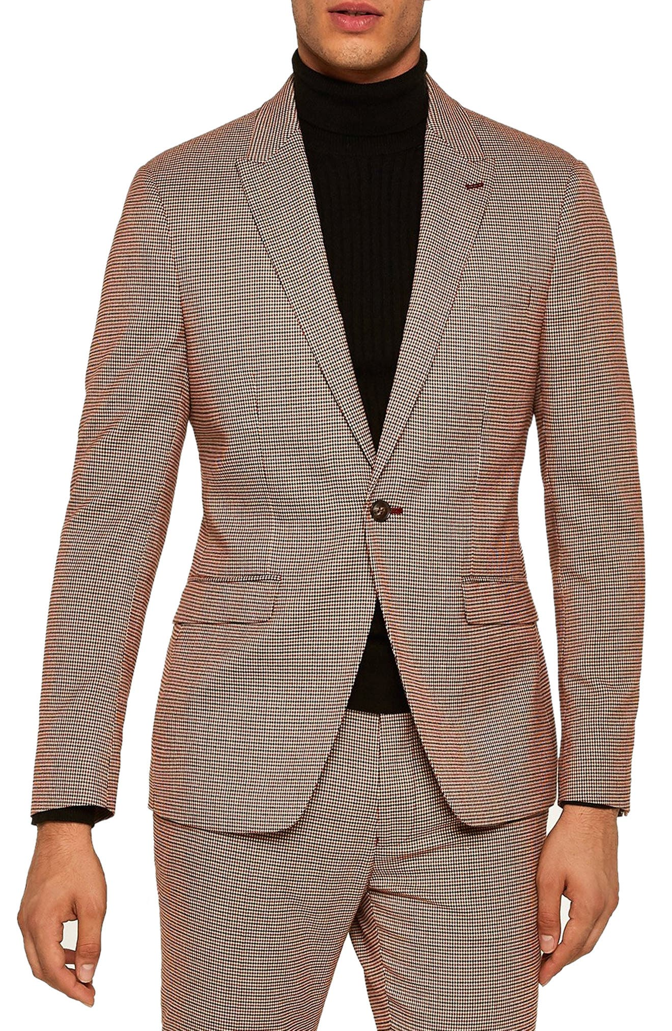 Skinny Fit Houndstooth Blazer,                             Main thumbnail 1, color,                             STONE