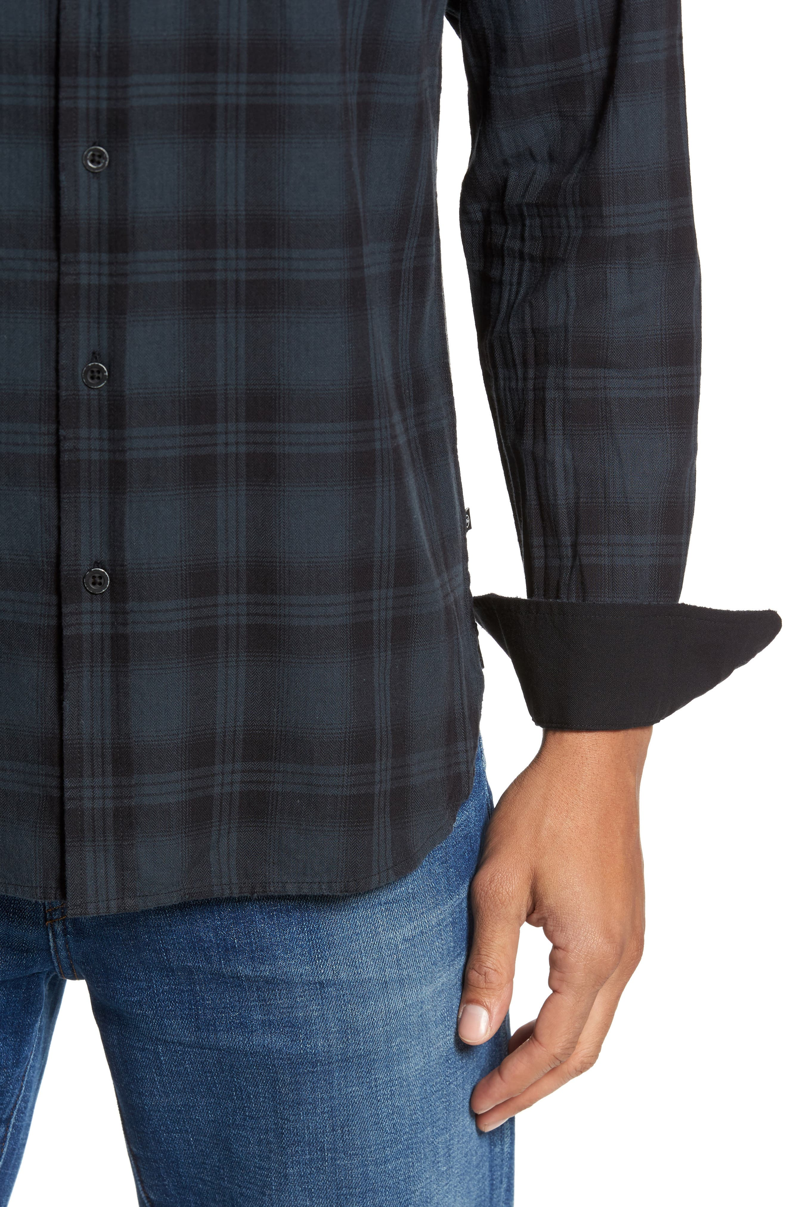 Colton Slim Fit Plaid Sport Shirt,                             Alternate thumbnail 4, color,                             487