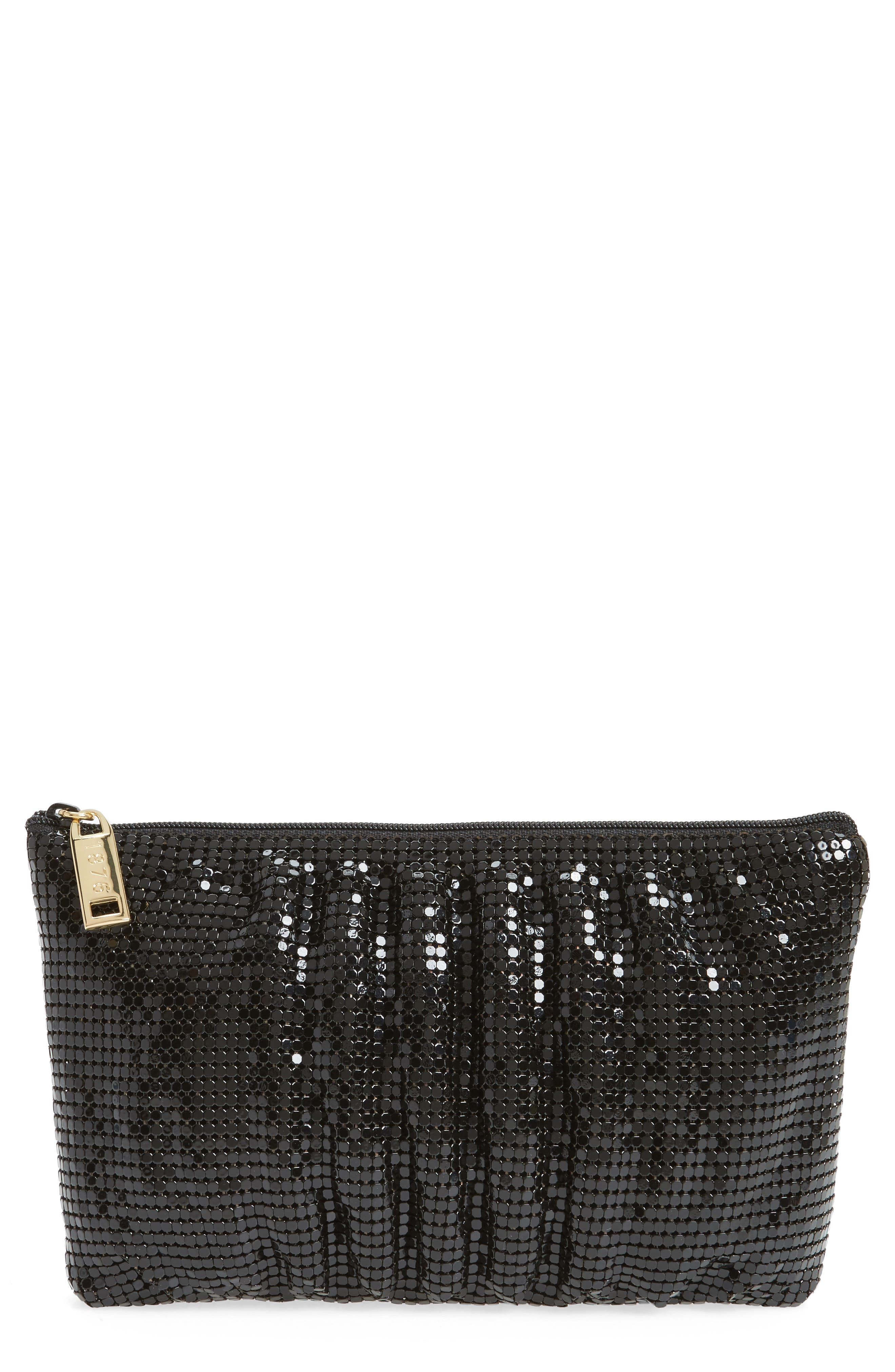 WHITING & DAVIS Shirred Mesh Pouch Clutch, Main, color, 001