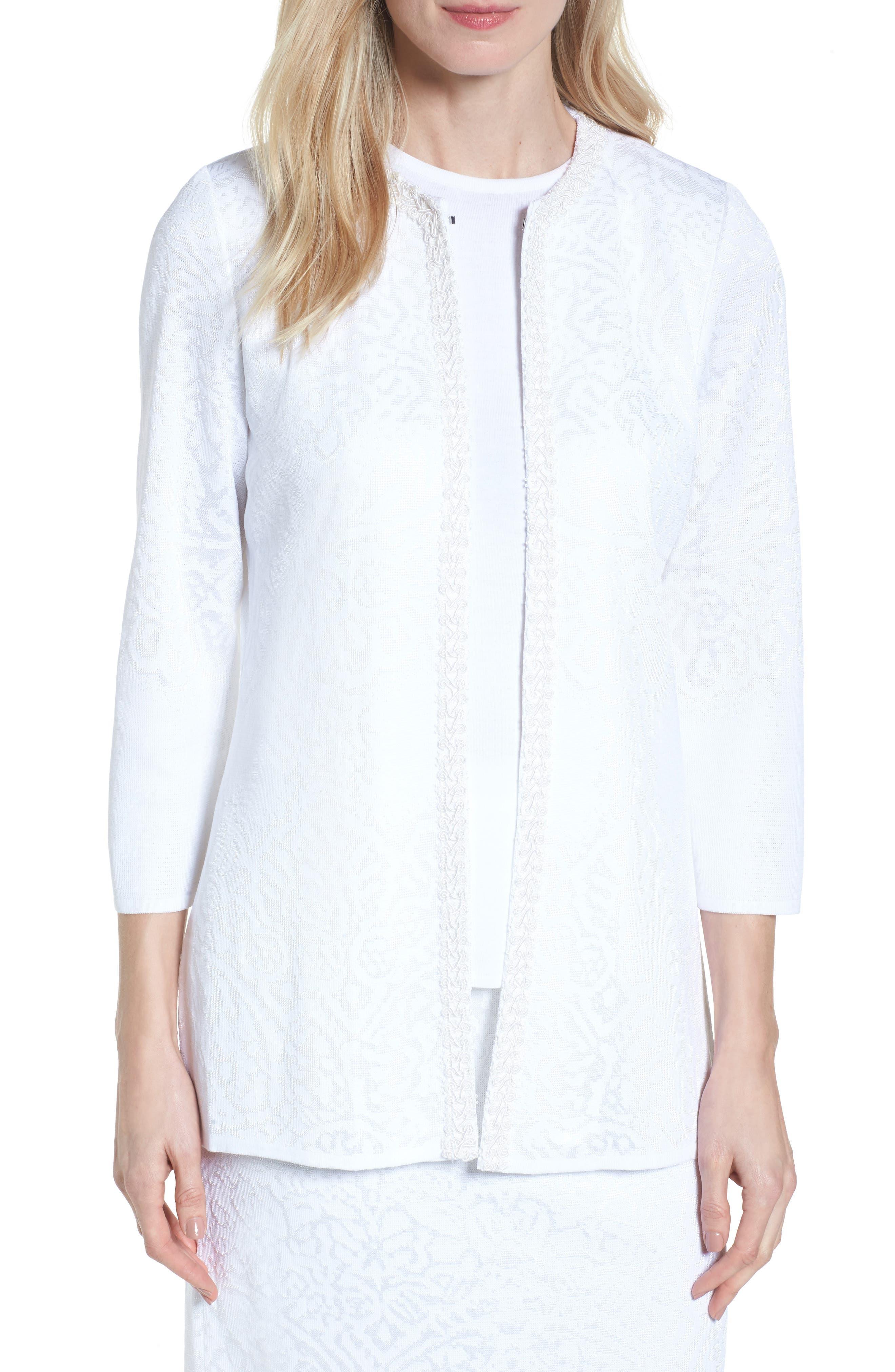 Floral Jacquard Jacket,                         Main,                         color, WHITE