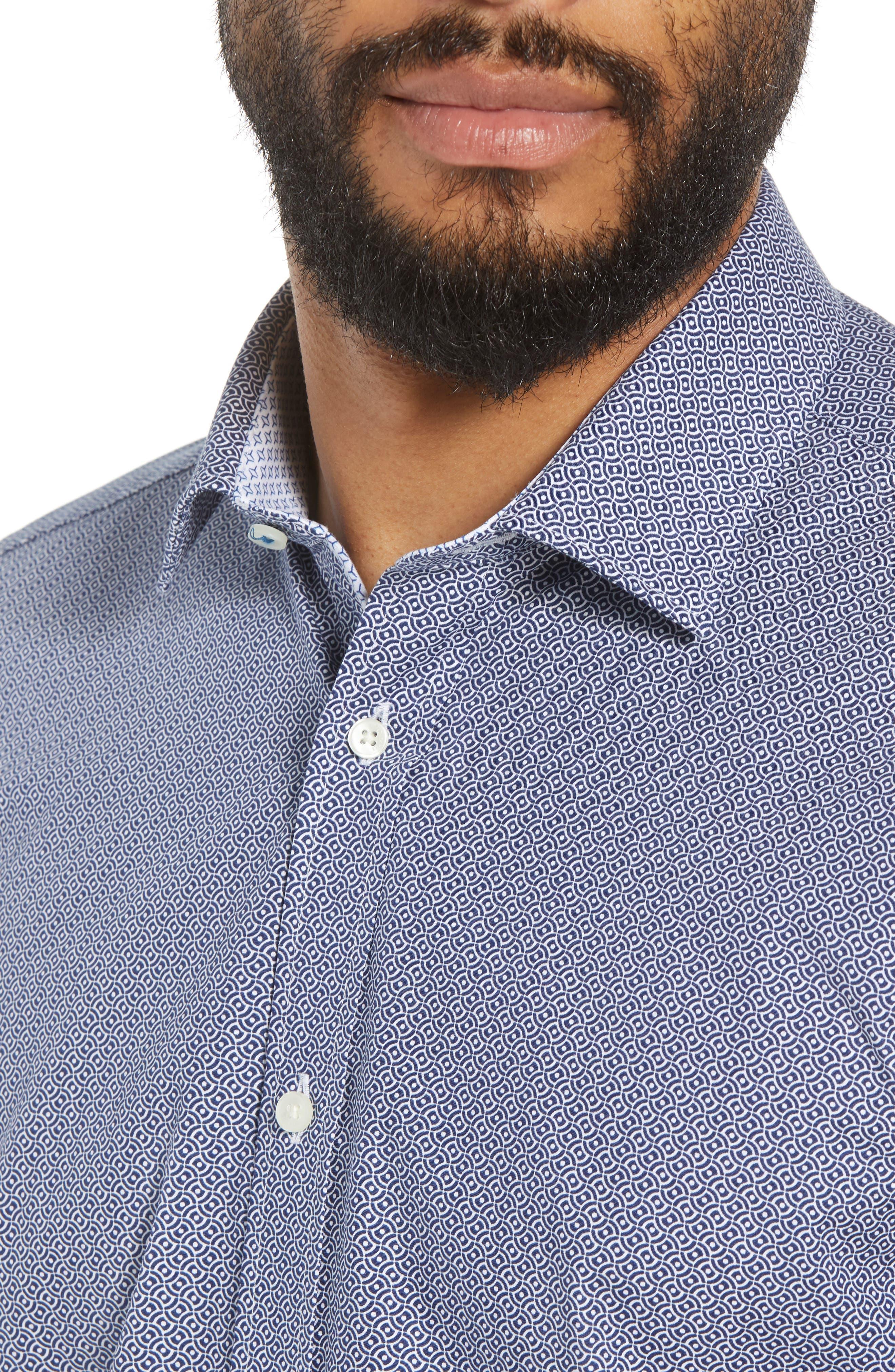 Footz Slim Fit Geometric Dress Shirt,                             Alternate thumbnail 2, color,                             NAVY