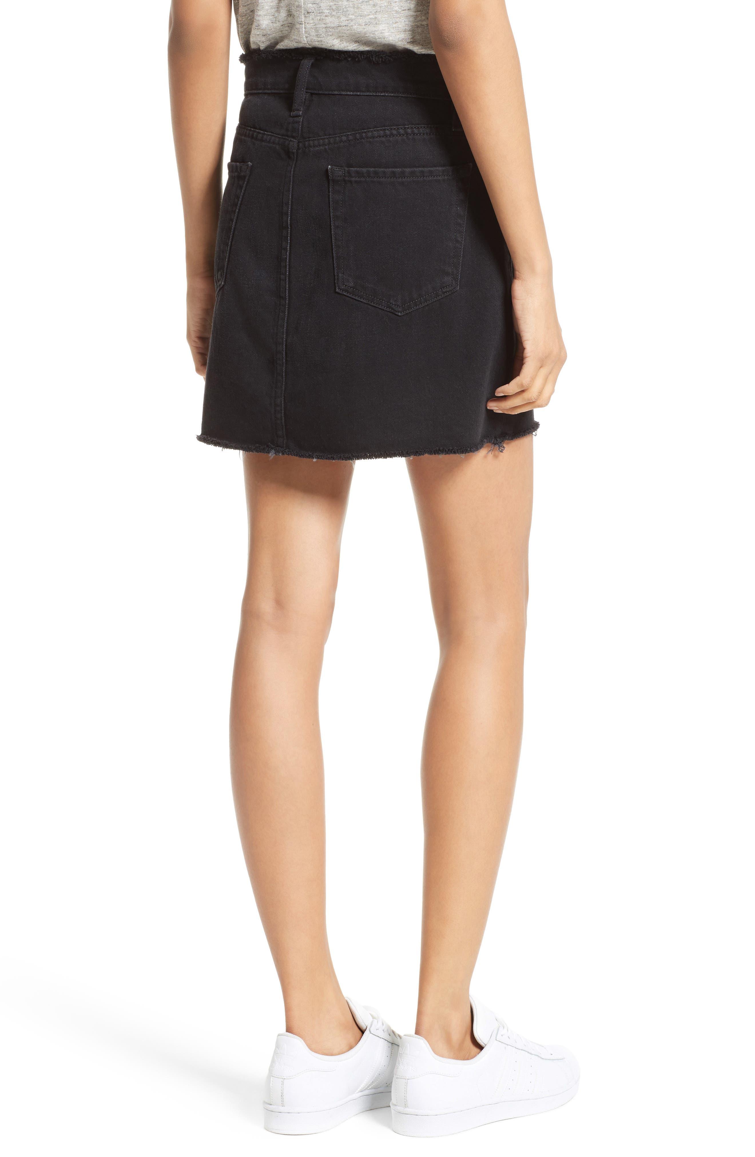 Le Mini Denim Skirt,                             Alternate thumbnail 2, color,                             001