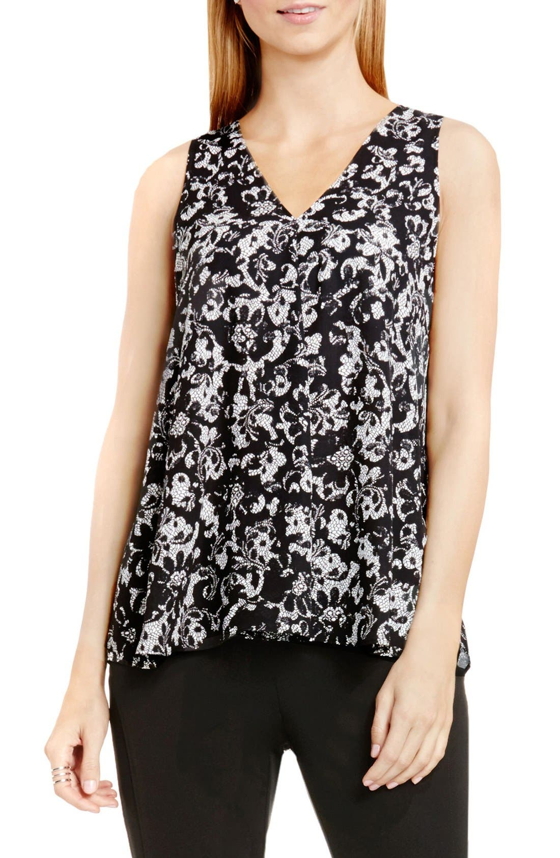Drape Front V-Neck Sleeveless Blouse,                             Main thumbnail 2, color,