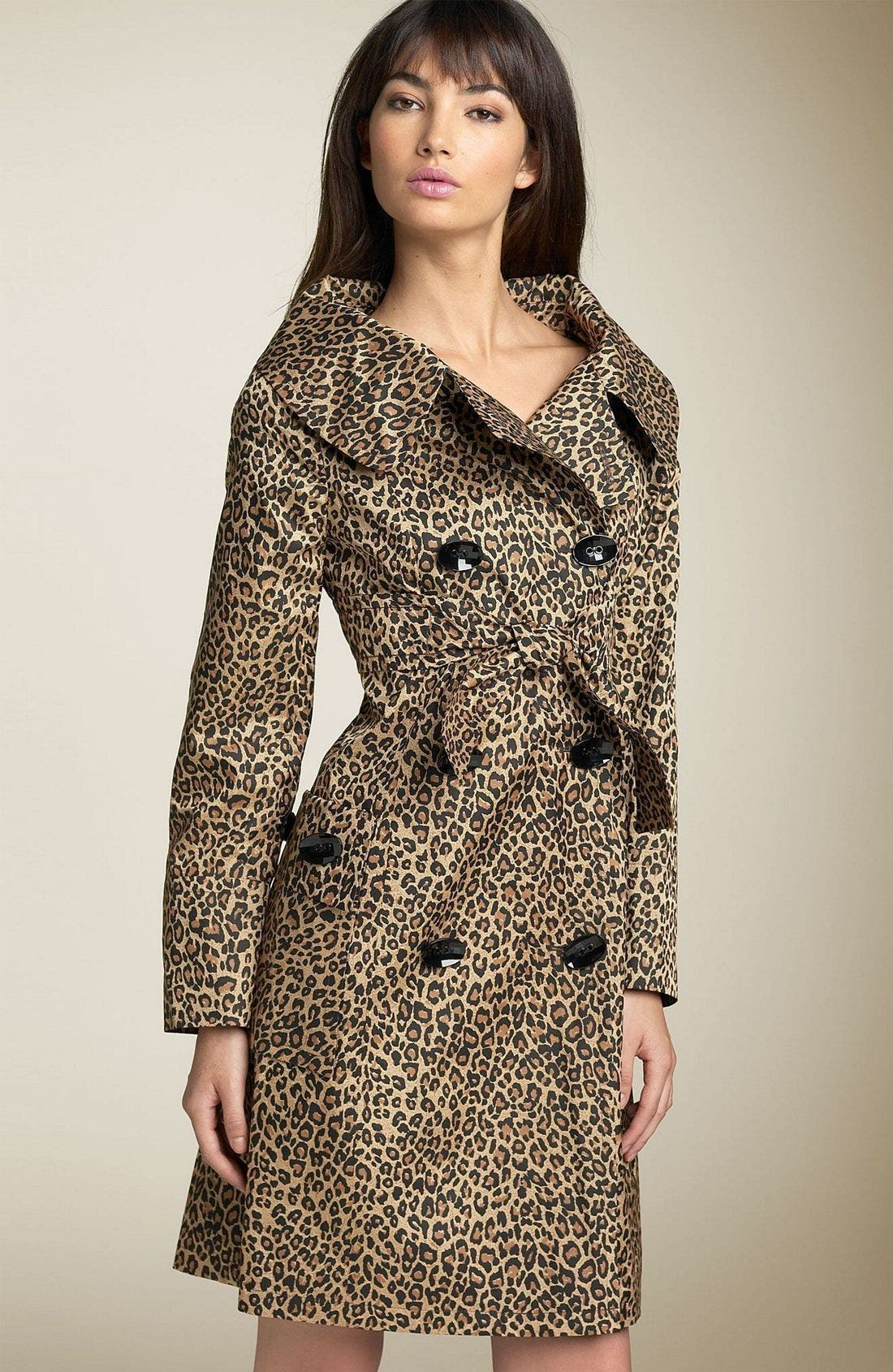 Leopard Trench Coat,                             Main thumbnail 1, color,                             LEO