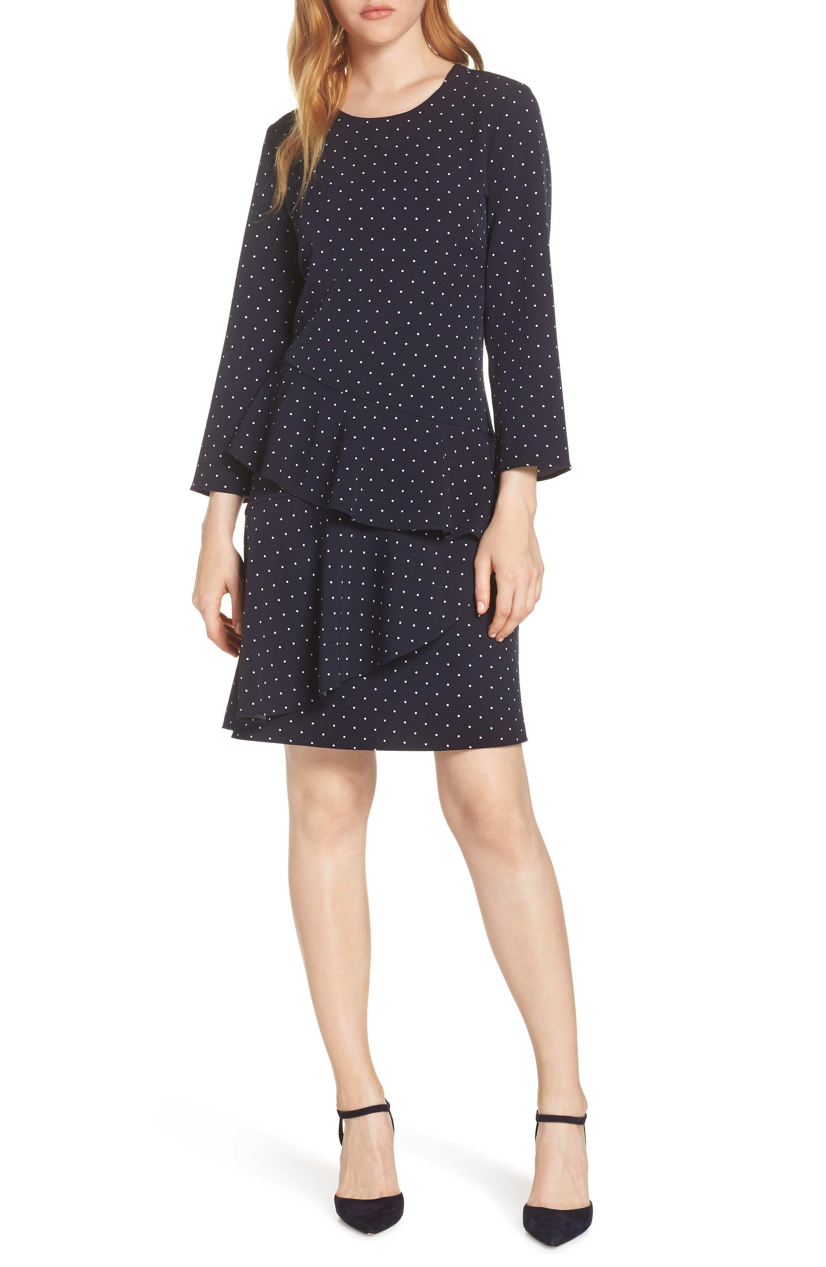 Polka Dot Dresses: 20s, 30s, 40s, 50s, 60s Petite Womens Eliza J Tiered Drop Waist Dress Size 2P - Blue $128.00 AT vintagedancer.com