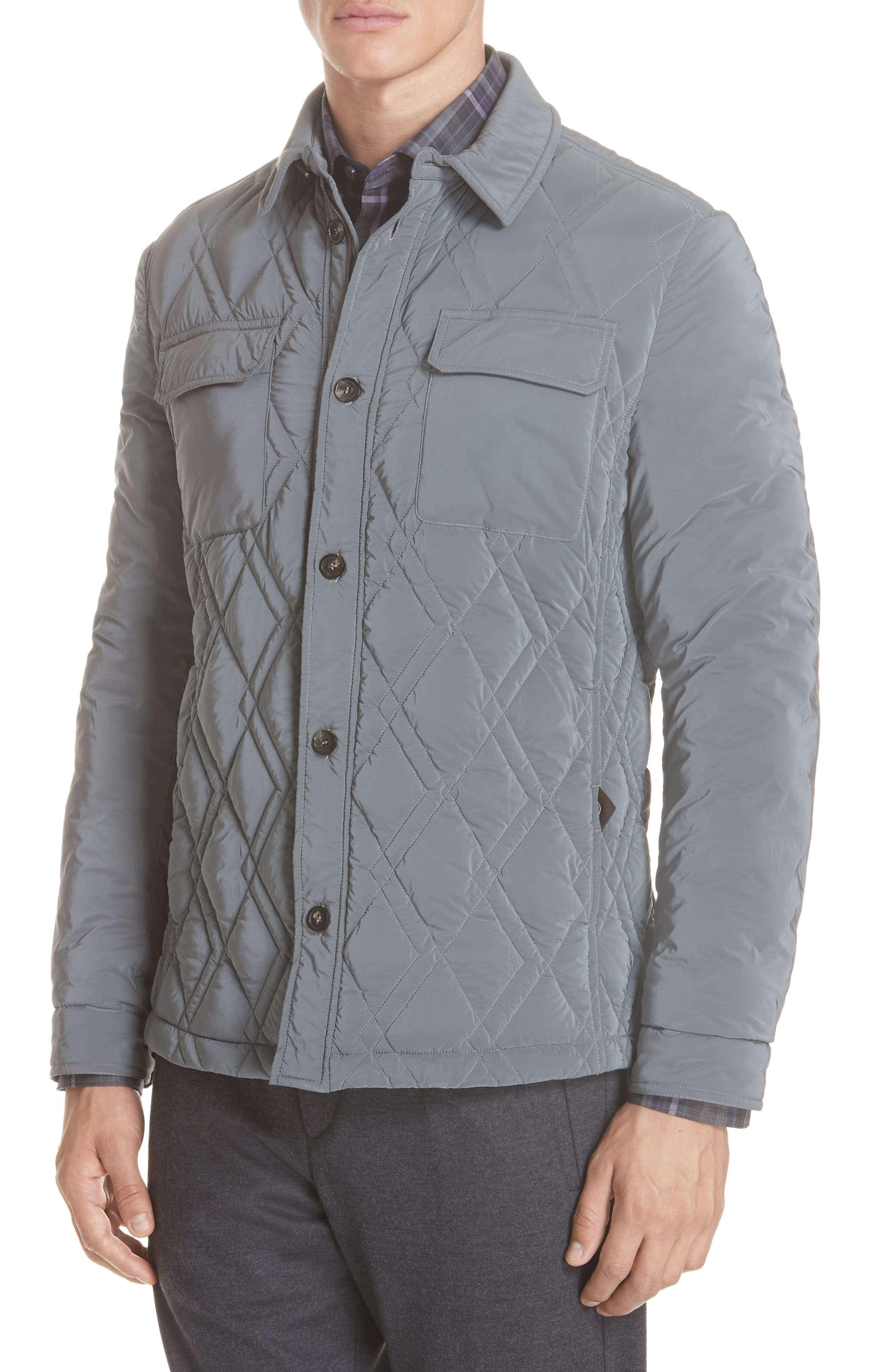 Quilted Down Jacket,                         Main,                         color, GREY