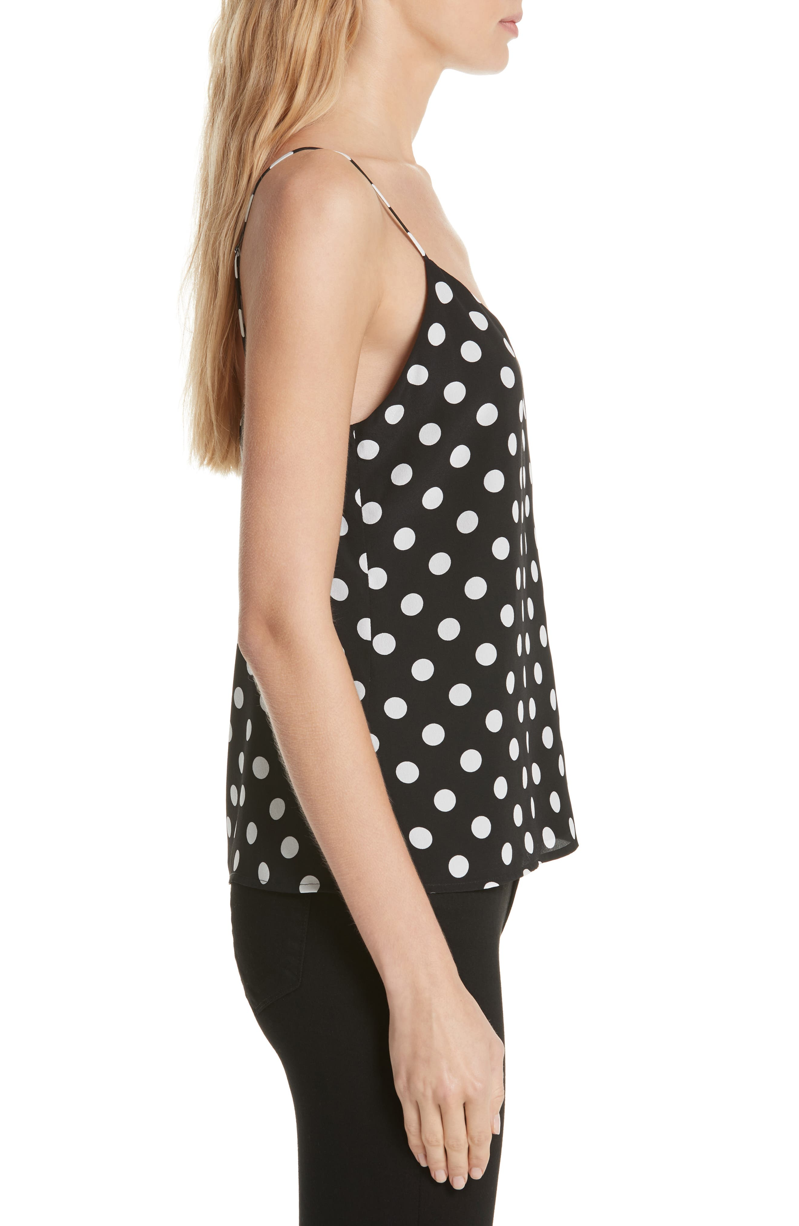 L'AGENCE,                             Jane Polka Dot Camisole,                             Alternate thumbnail 3, color,                             BLACK/ IVORY