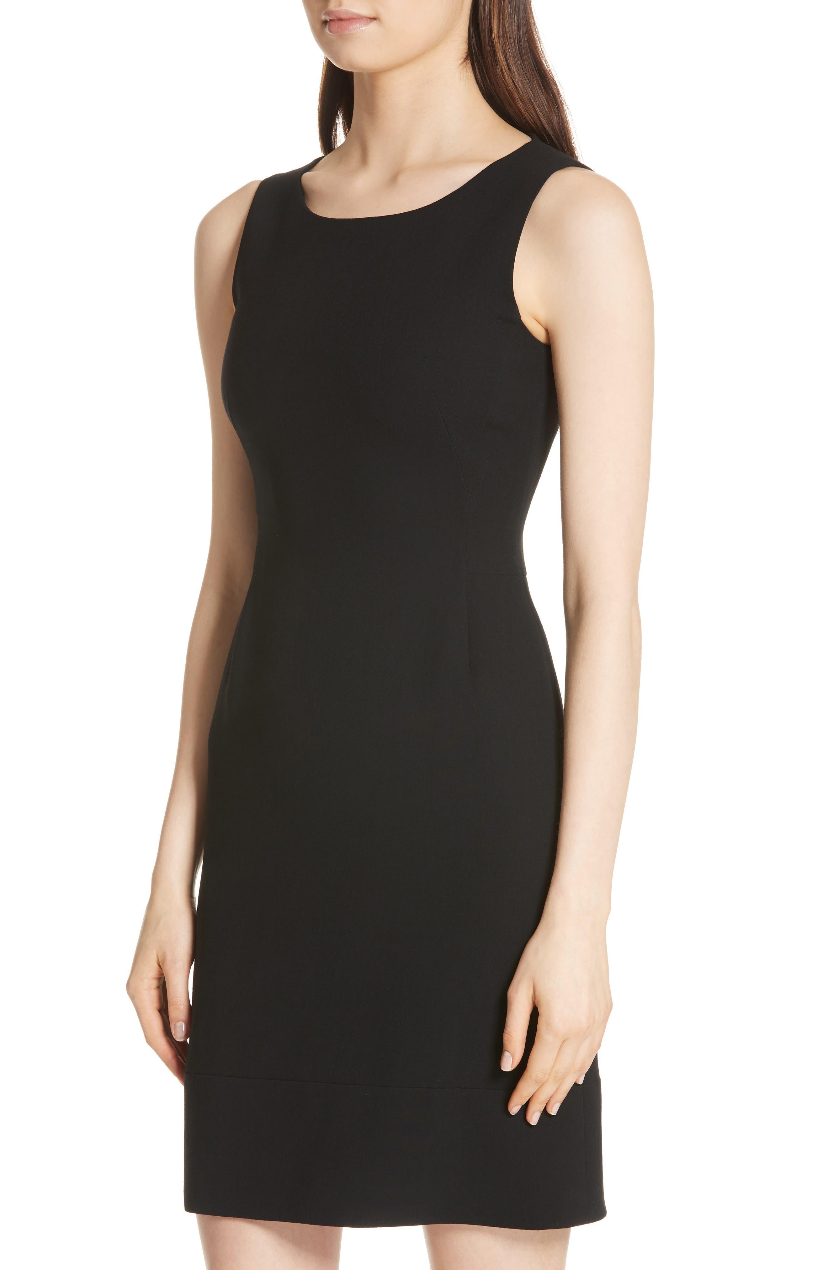 Double Face Wool Blend Dress,                             Alternate thumbnail 4, color,                             BLACK