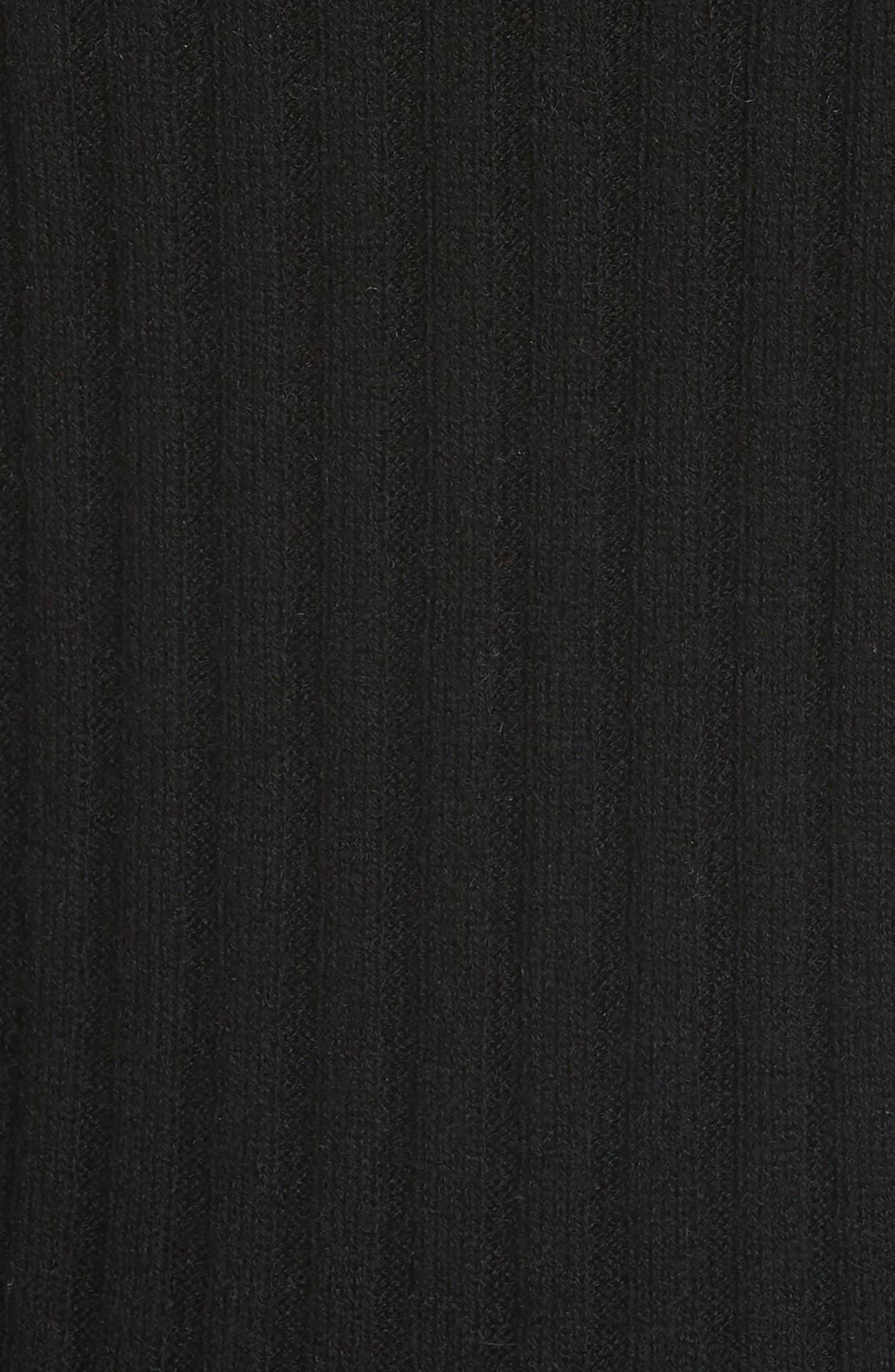 Ribbed Skinny Cashmere Cardigan,                             Alternate thumbnail 5, color,                             BLACK