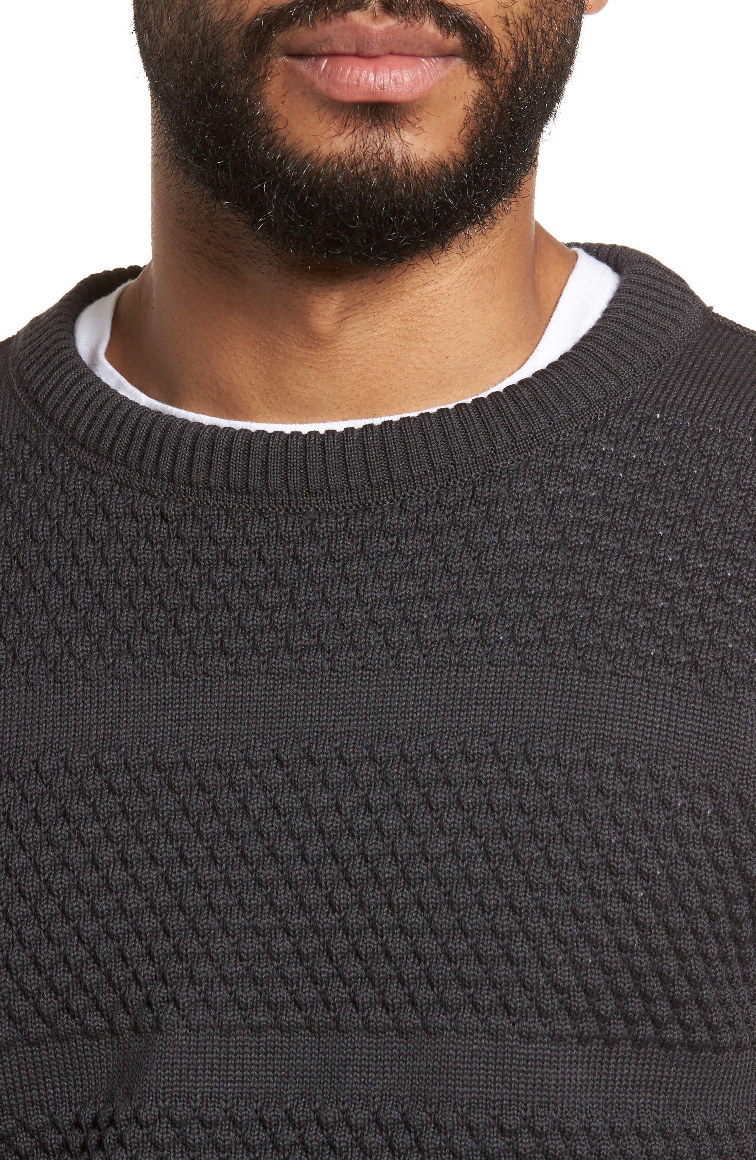 Fisherman Crewneck Wool Sweater,                             Alternate thumbnail 4, color,                             020