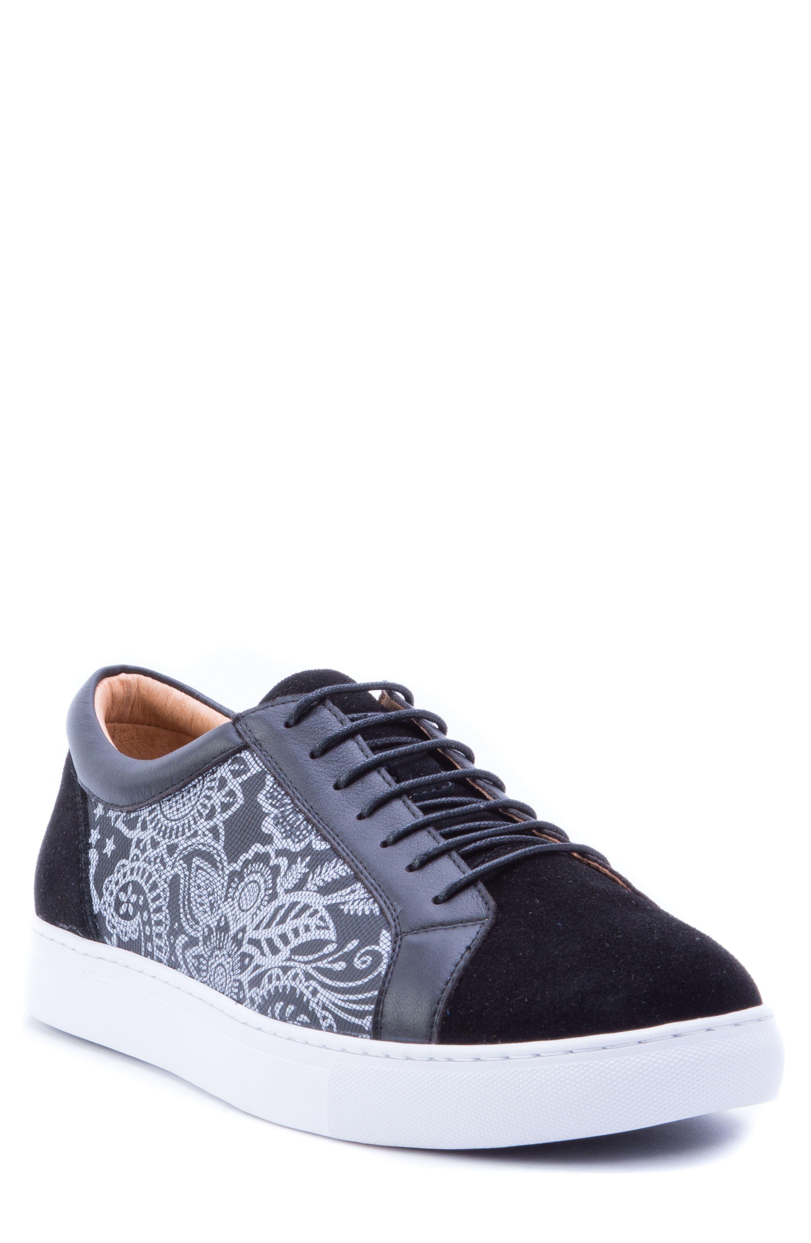 Rubio Floral Sneaker,                         Main,                         color, BLACK SUEDE