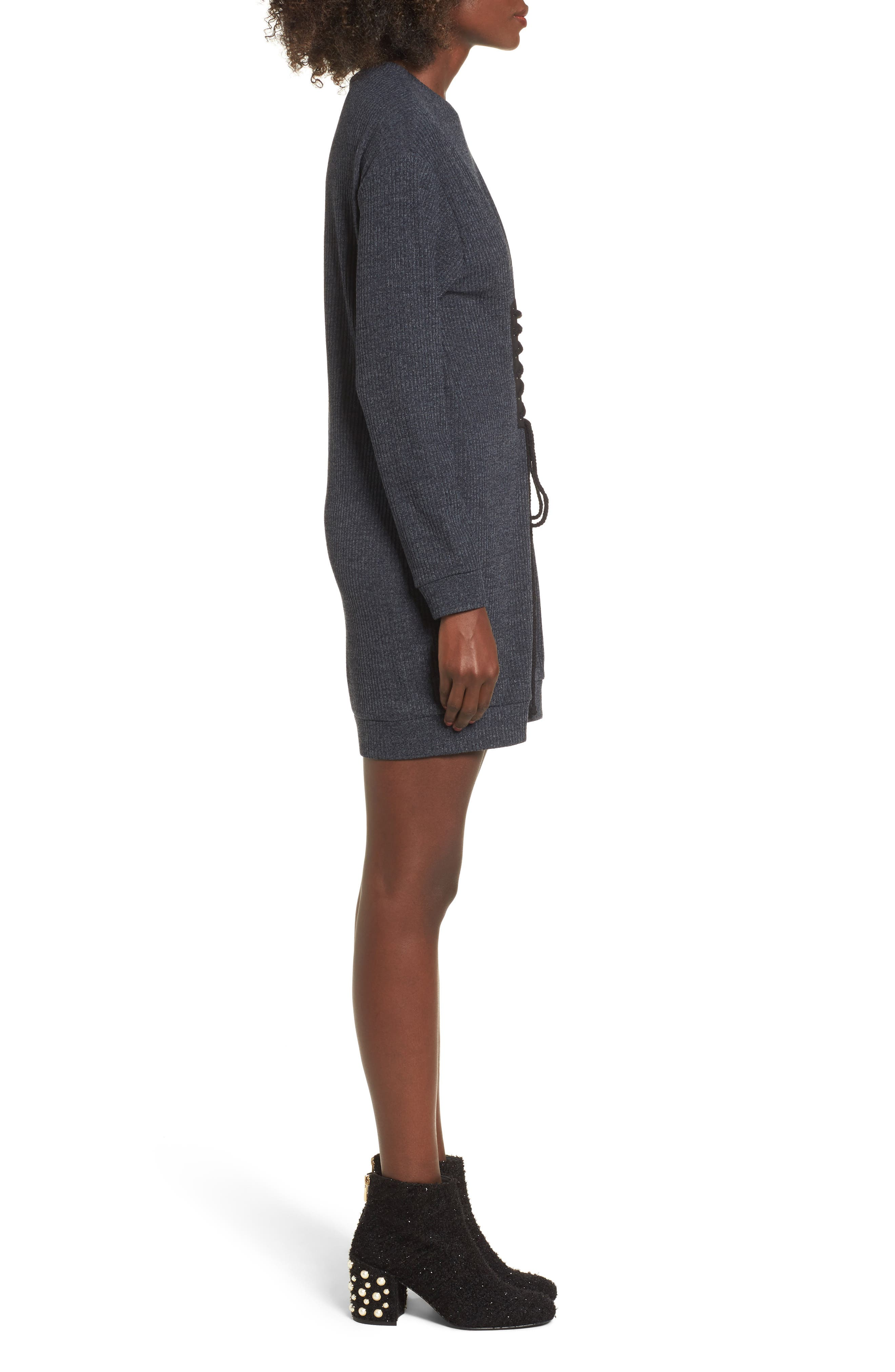 Corset Detail Sweatshirt Dress,                             Alternate thumbnail 3, color,                             020