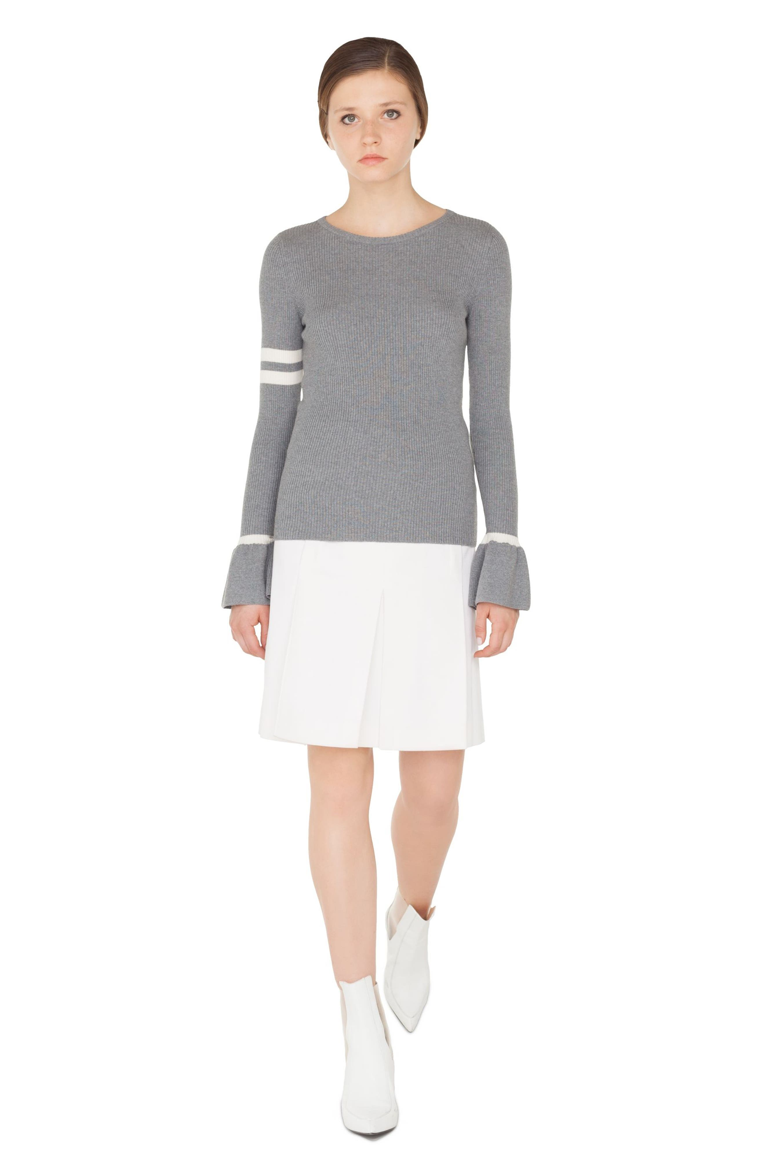Stripe Wool Bell Sleeve Sweater,                             Alternate thumbnail 3, color,                             SILVER-CREAM