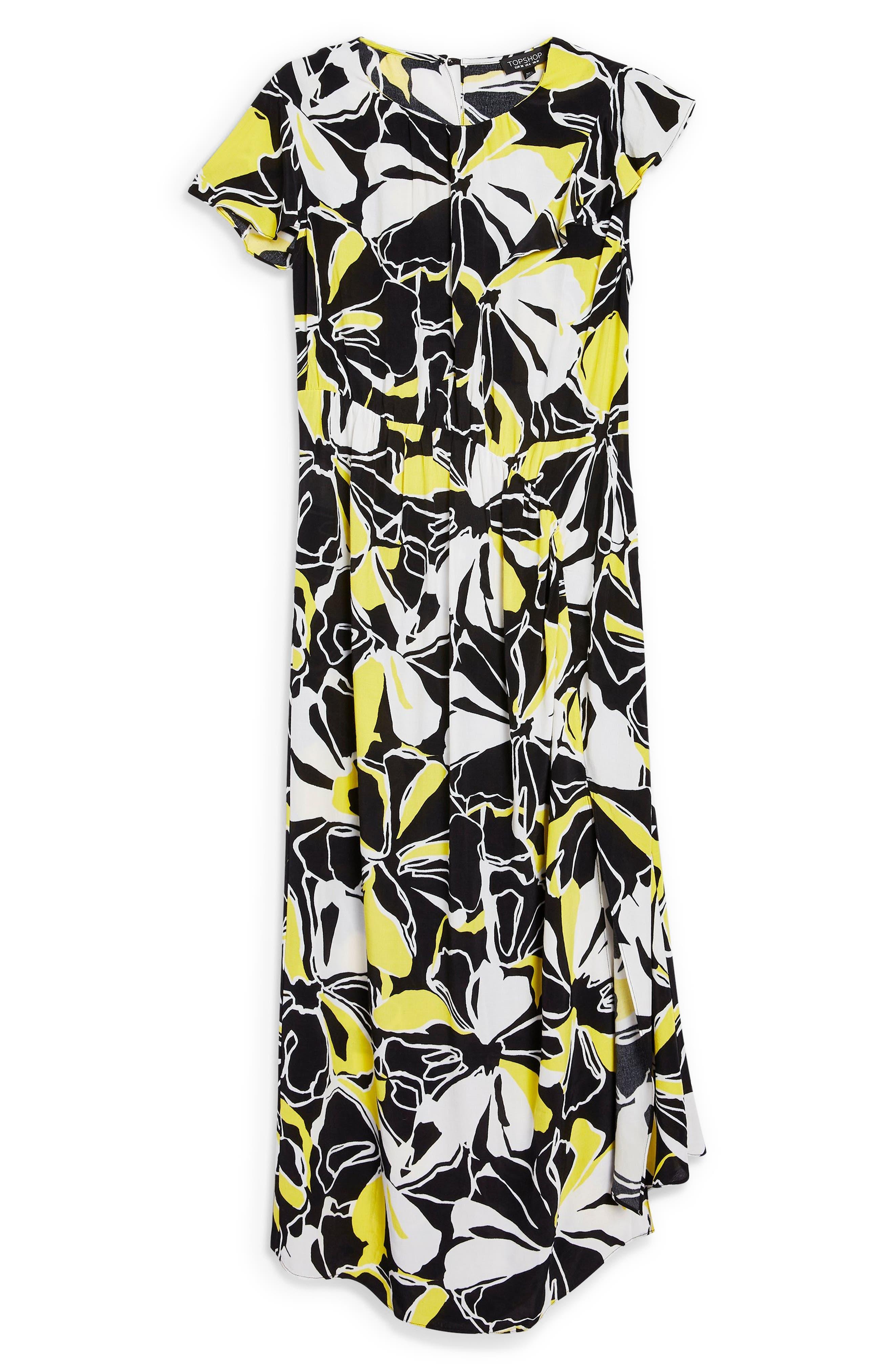 Deconstructed Floral Print Maxi Dress,                             Alternate thumbnail 6, color,                             BLACK MULTI