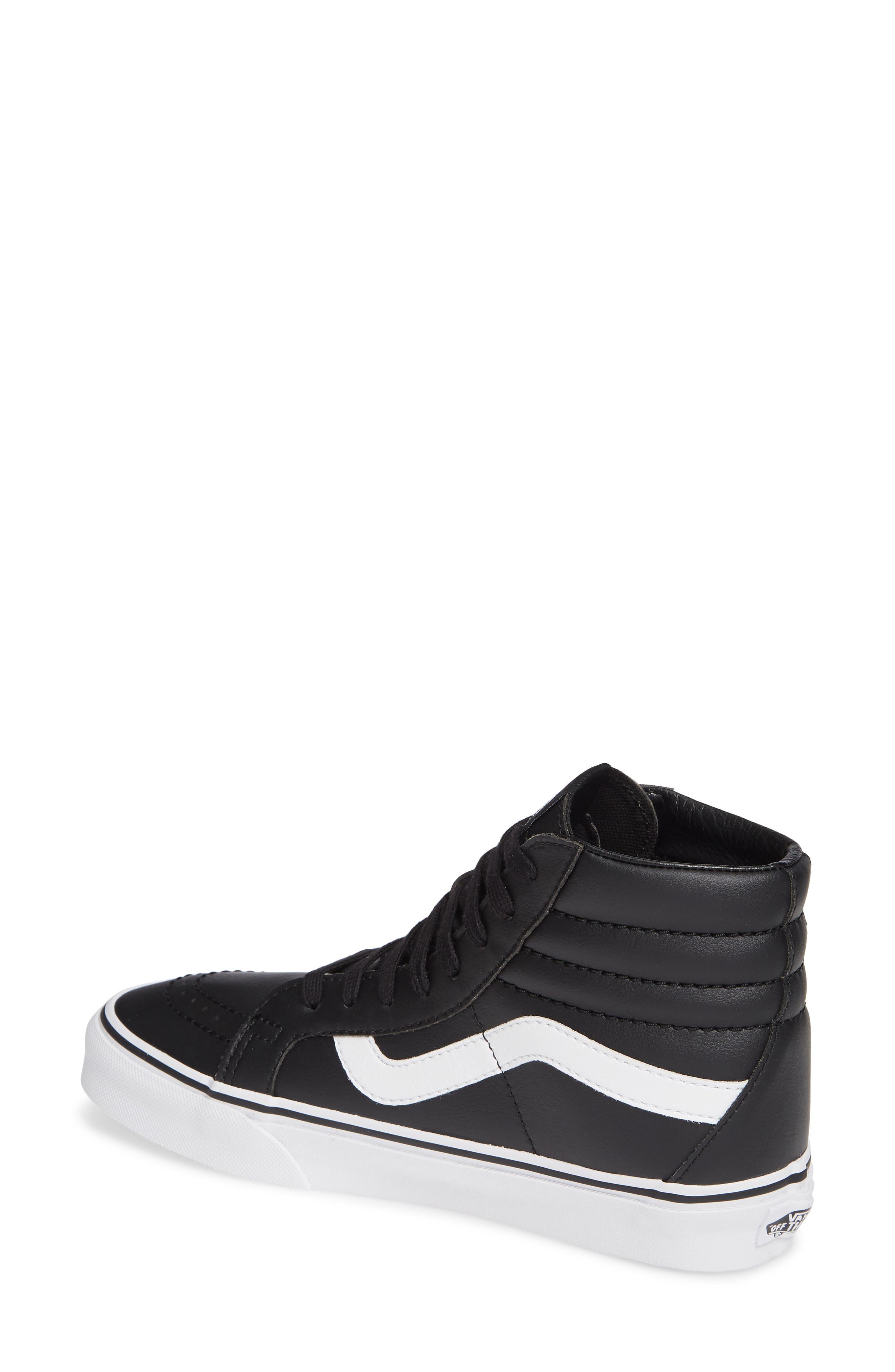 VANS,                             'Sk8-Hi Reissue' Sneaker,                             Alternate thumbnail 2, color,                             BLACK/ TRUE WHITE