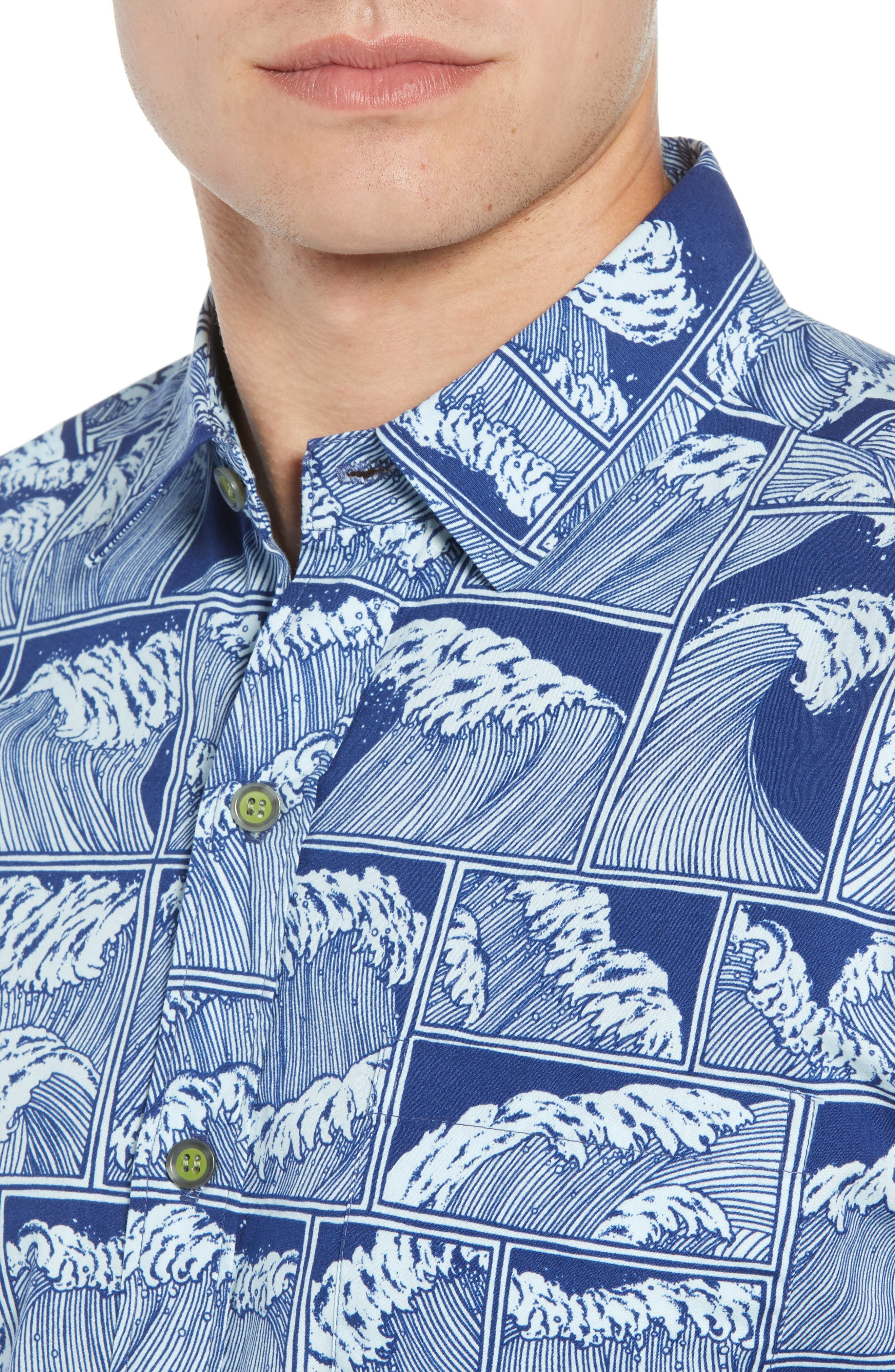 King Tide Trim Fit Sport Shirt,                             Alternate thumbnail 4, color,                             NAVY