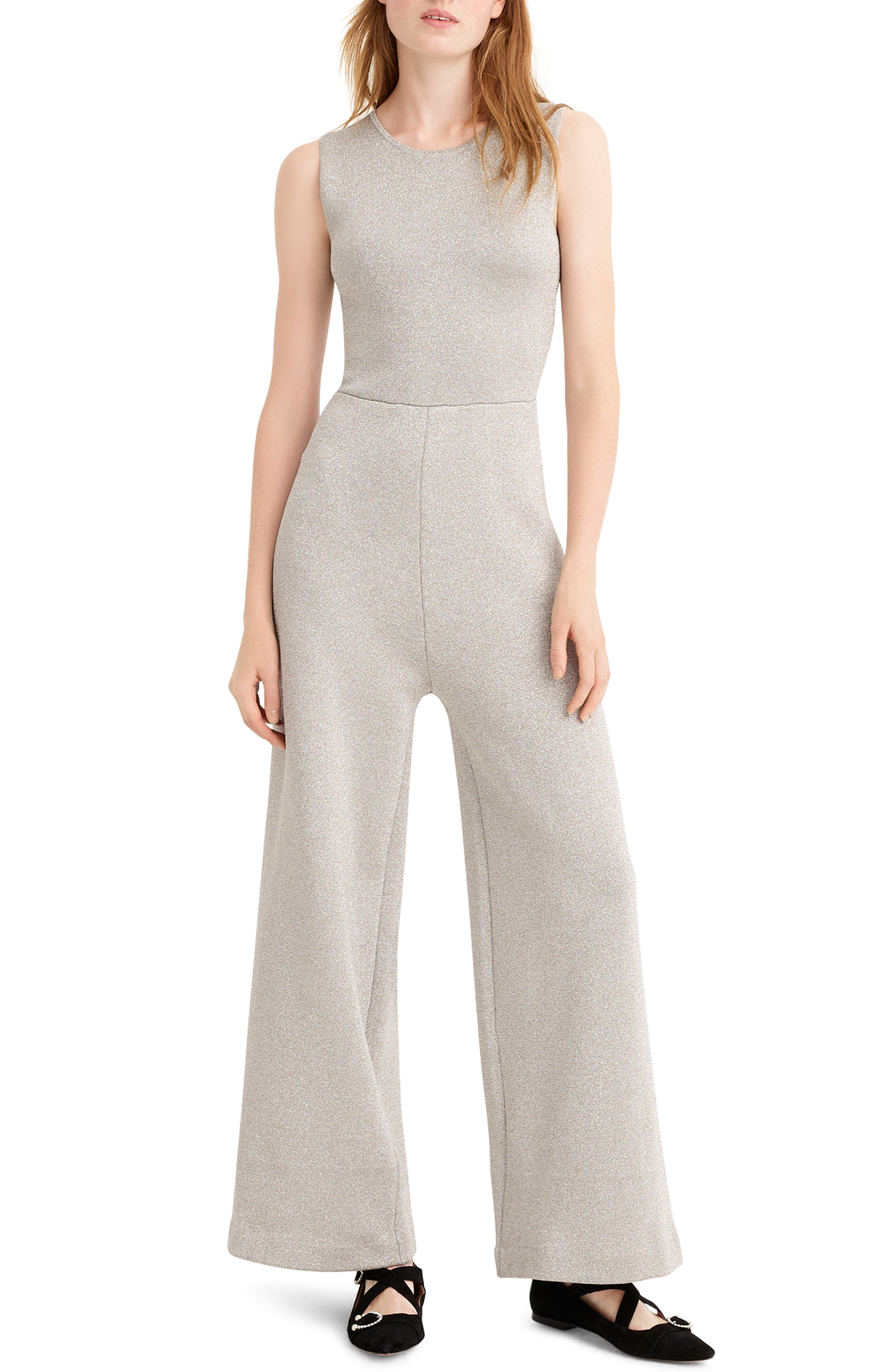 J.CREW Sleeveless Lurex Jumpsuit With Velvet Tie in Metallic