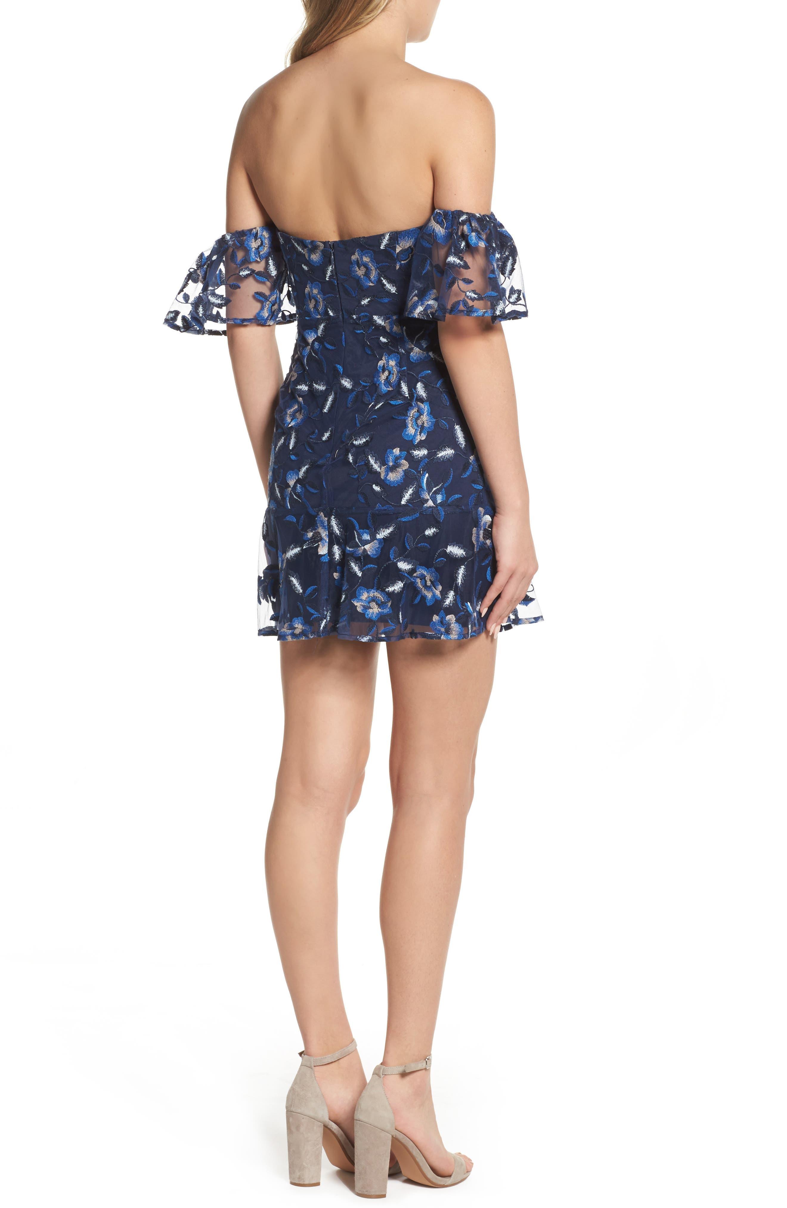 Sapphire Lace Off the Shoulder Dress,                             Alternate thumbnail 2, color,                             471