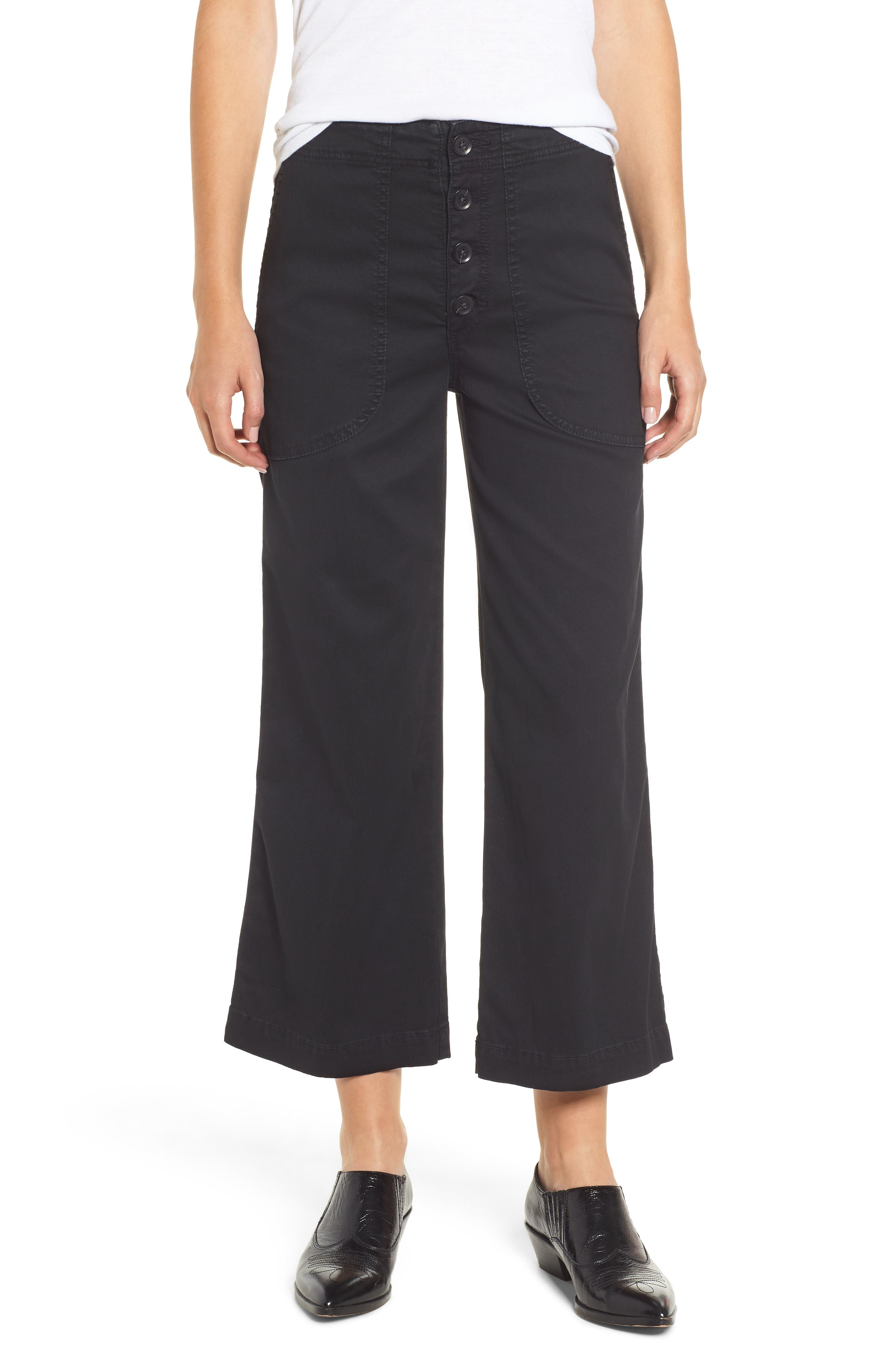 Etta High Waist Crop Wide Leg Jeans,                             Main thumbnail 1, color,                             SULFUR SUPER BLACK