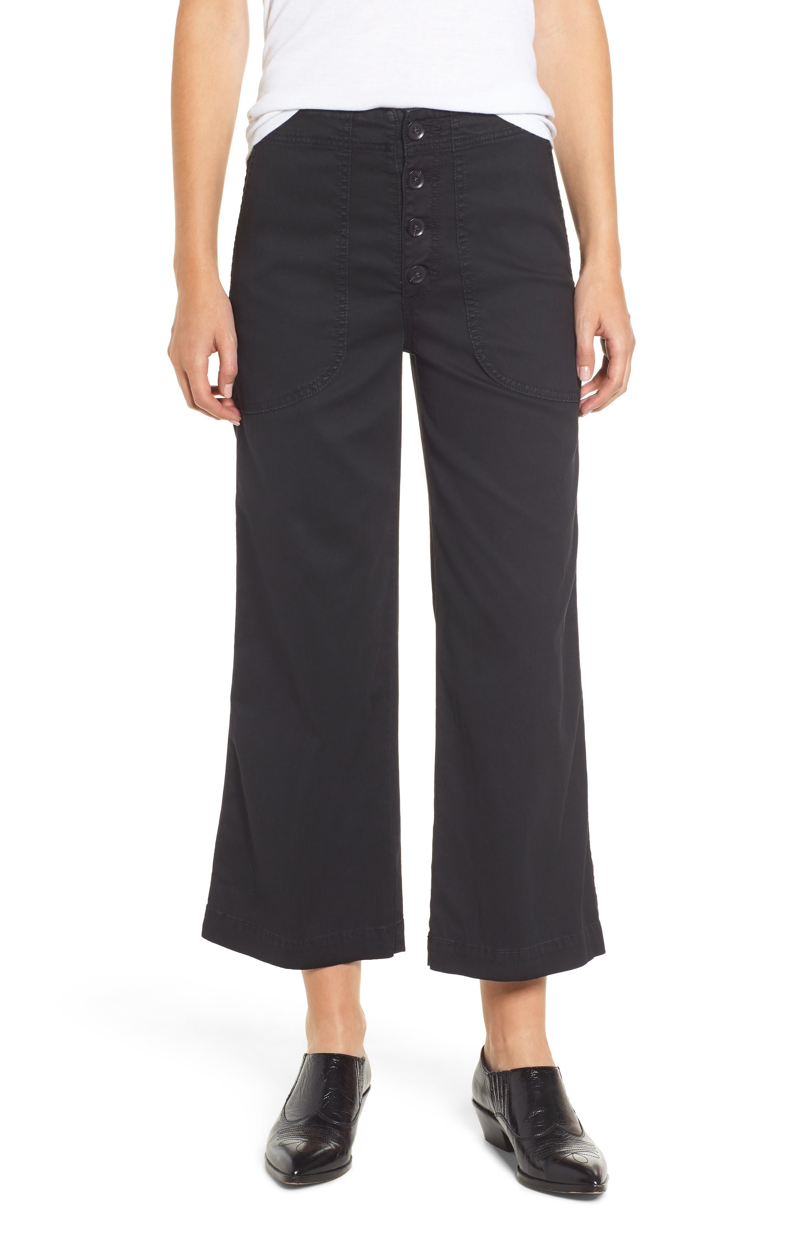 Etta High Waist Crop Wide Leg Jeans,                         Main,                         color, SULFUR SUPER BLACK
